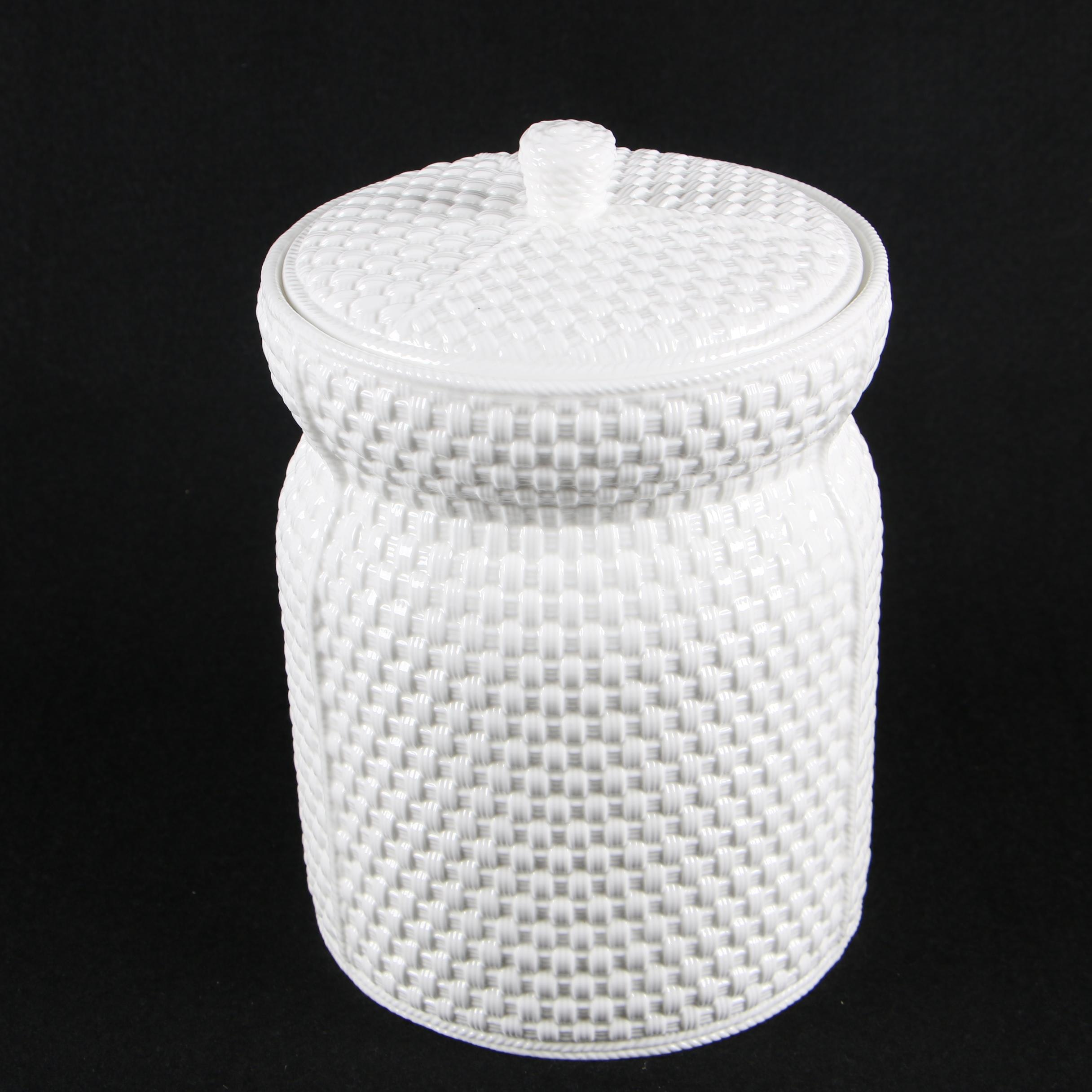 "Tiffany ""Tiffany Weave"" Porcelain Lidded Canister"