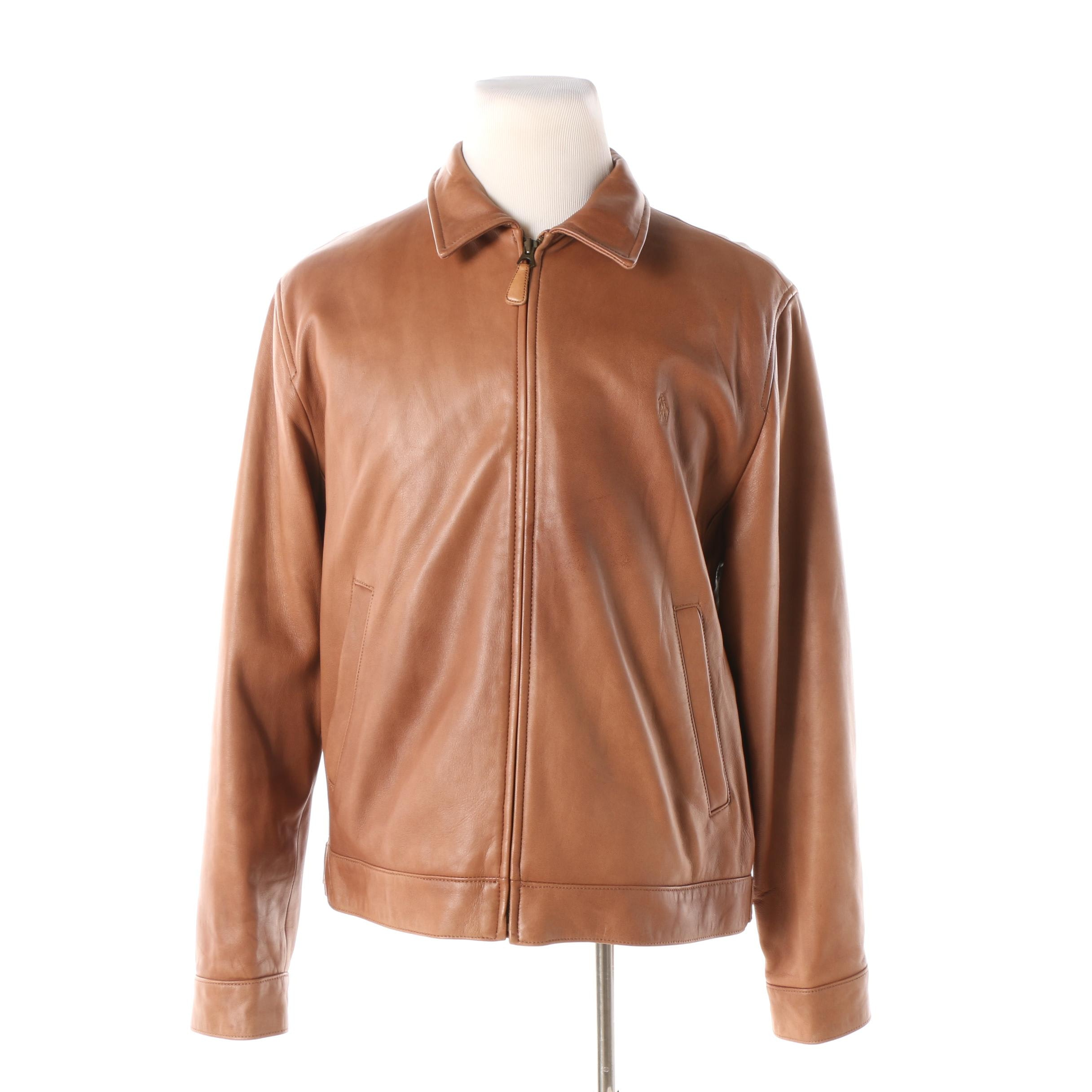 Men's Polo by Ralph Lauren Brown Leather Zip-Front Jacket
