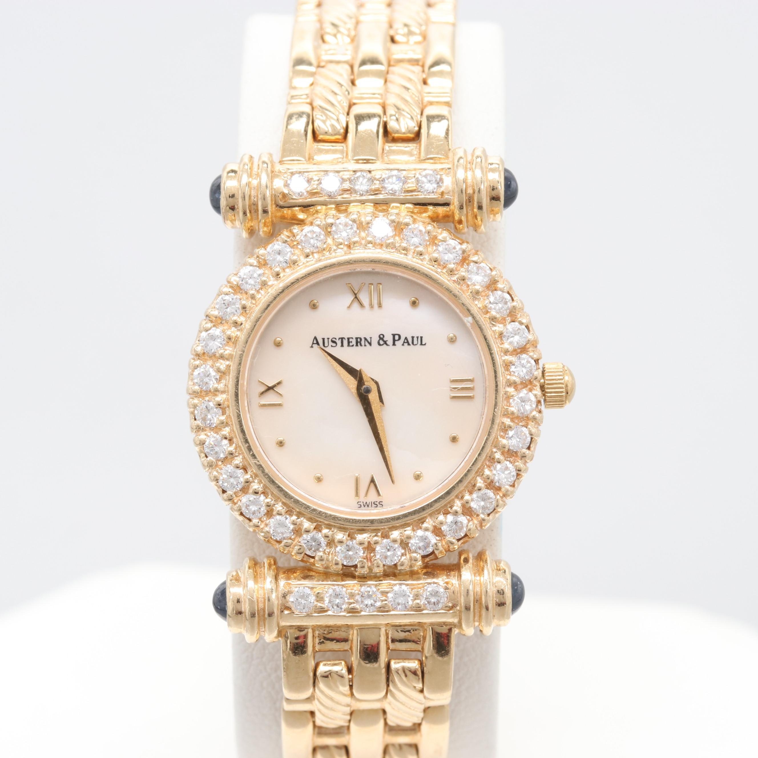 Austern & Paul 14K Yellow Gold Diamond, Sapphire and Mother of Pearl Wristwatch