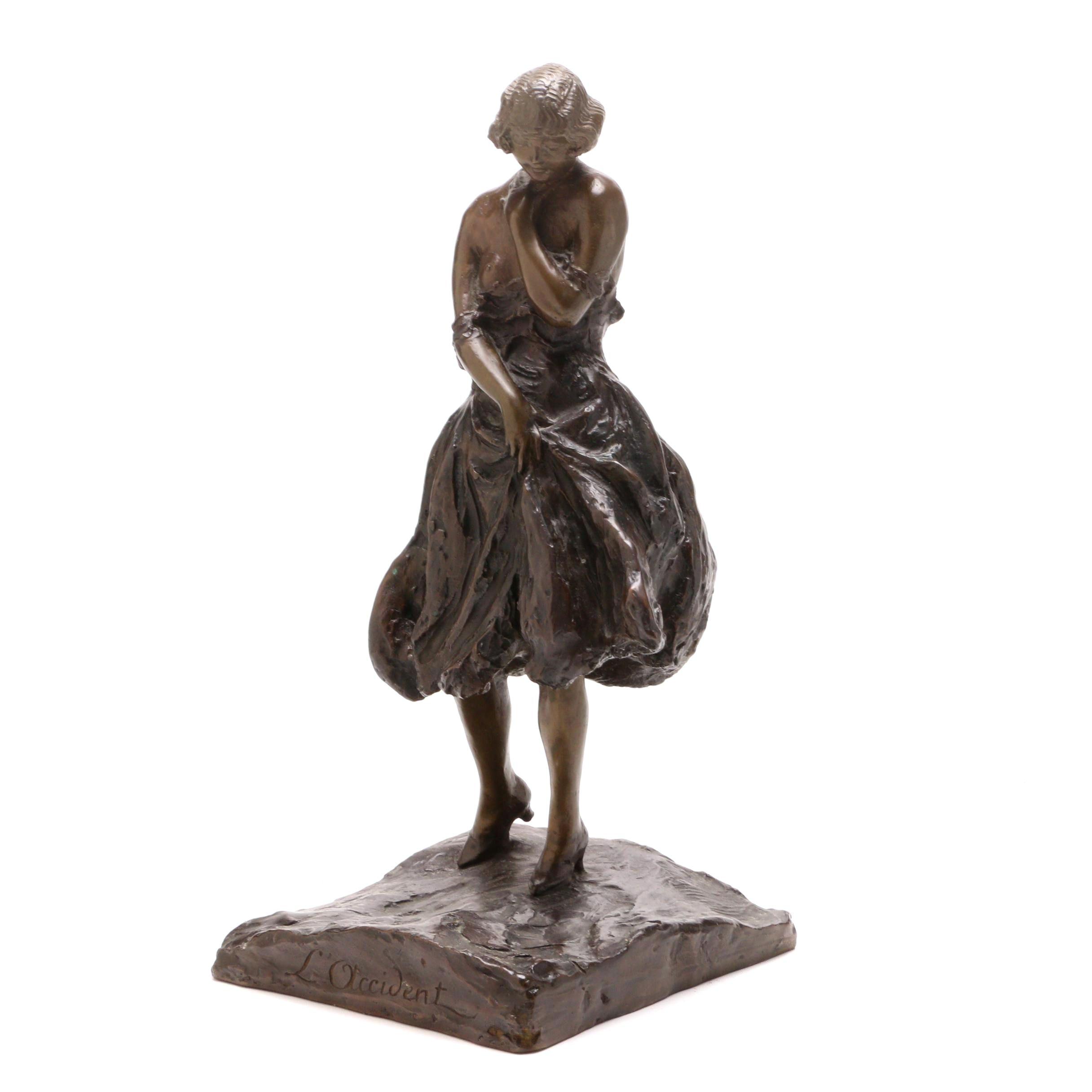 "Bronze Sculpture After Louis Icart ""L'Occident"""