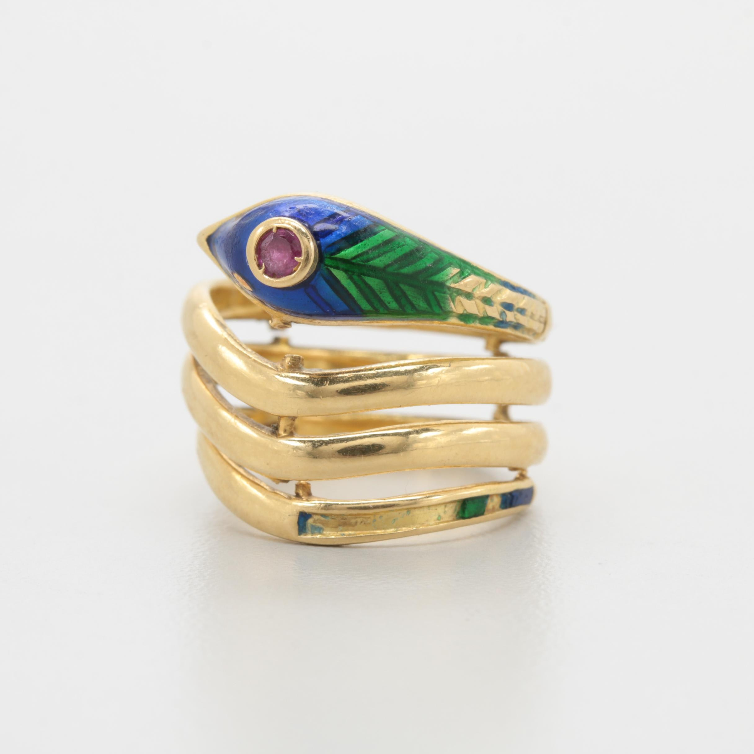 18K Yellow Gold Ruby and Enamel Snake Ring