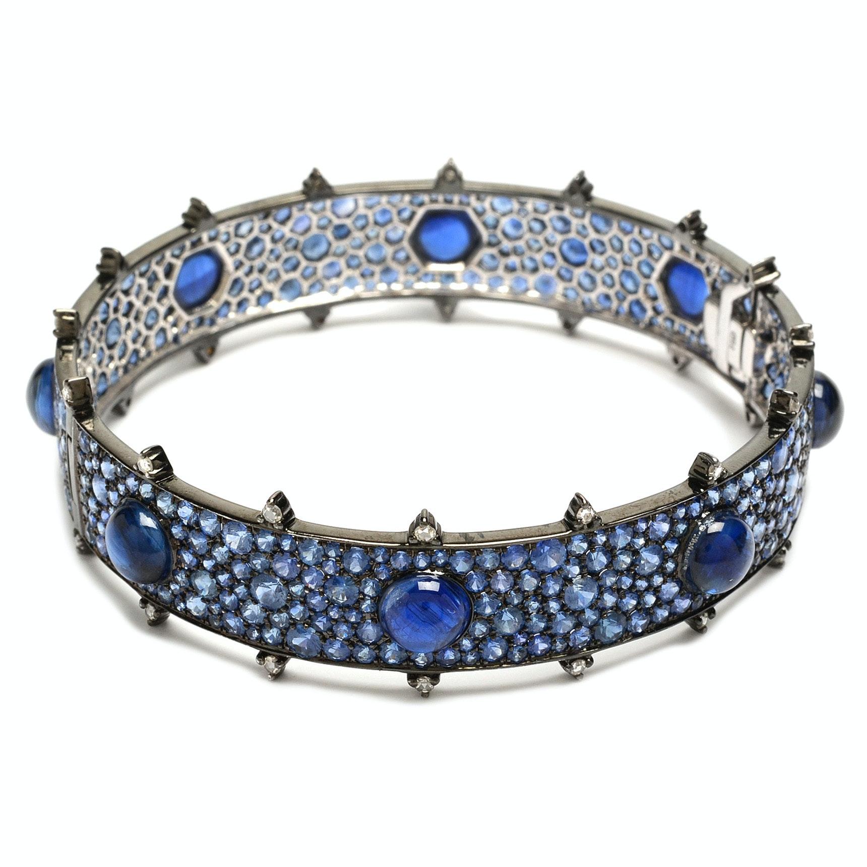 """Nam Cho """"Bull's Eye"""" 18K White Gold, Kyanite, Blue Sapphire and Diamond Bracelet"""