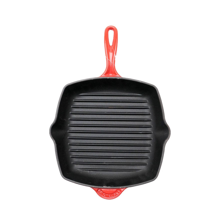 Le Creuset Red Enameled Cast Iron Square Grill Pan