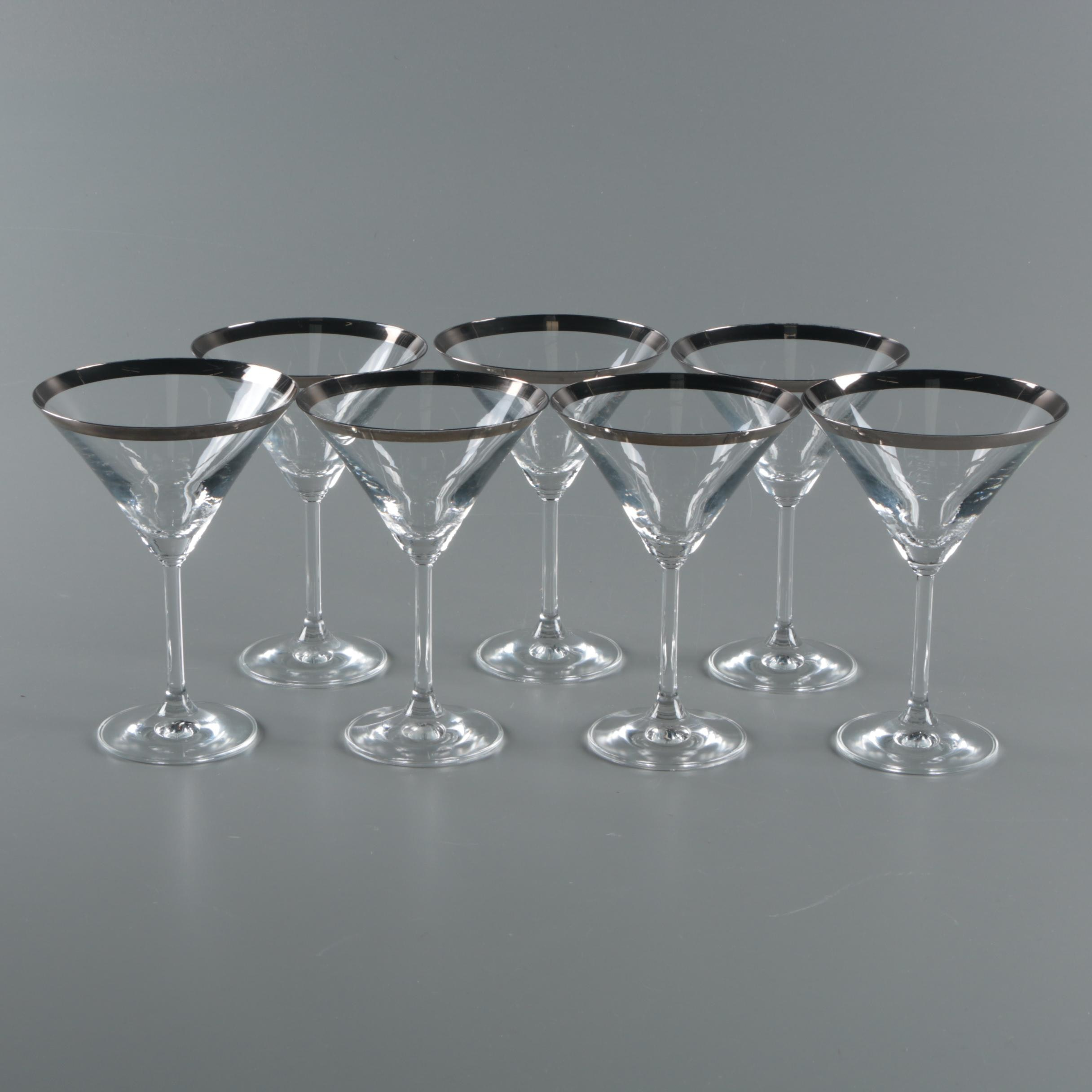 "Mid Century Modern Dorothy Thorpe ""Silver Band"" Martini Glasses"