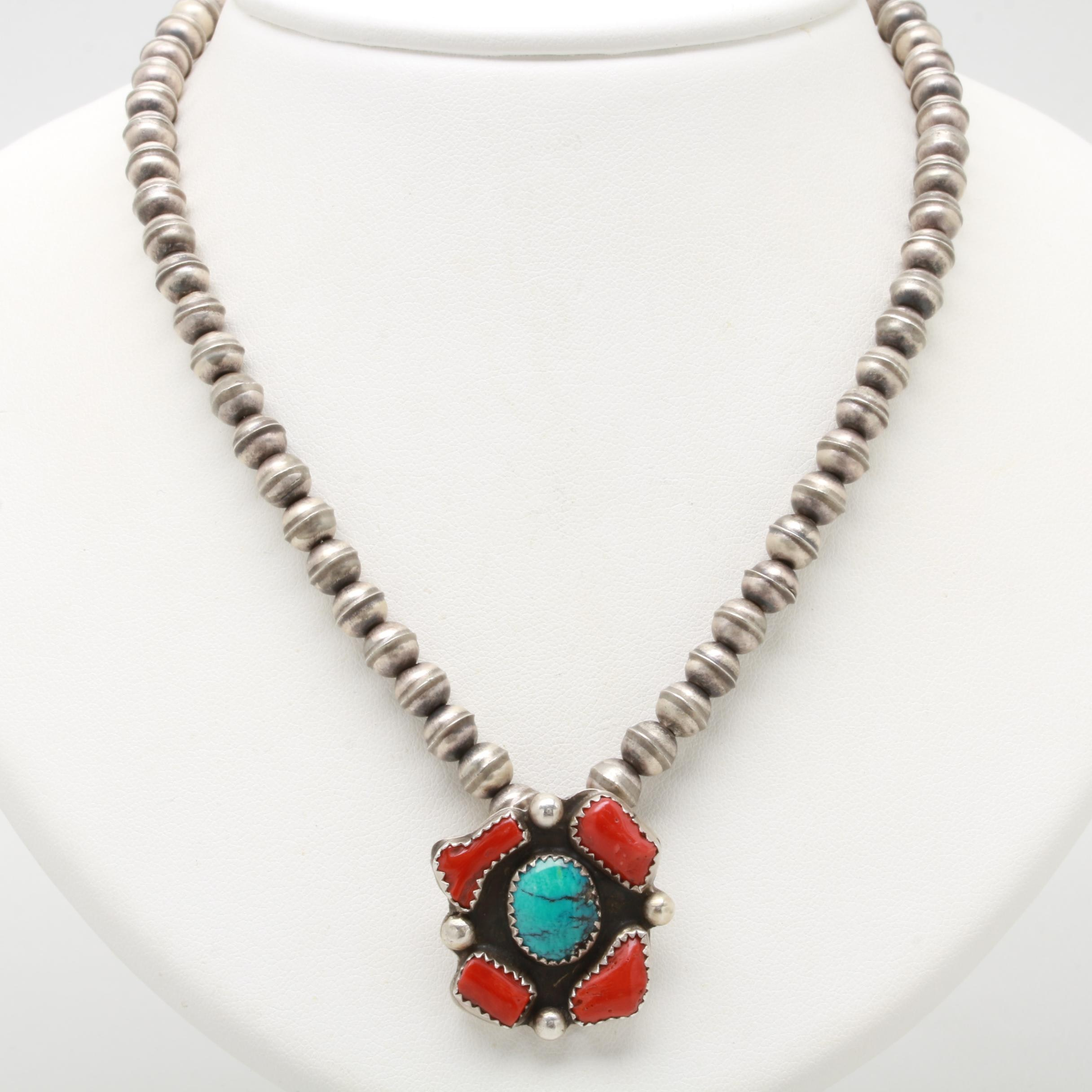 Victor Hicks Navajo Diné Sterling Silver Turquoise and Coral Pendant Necklace
