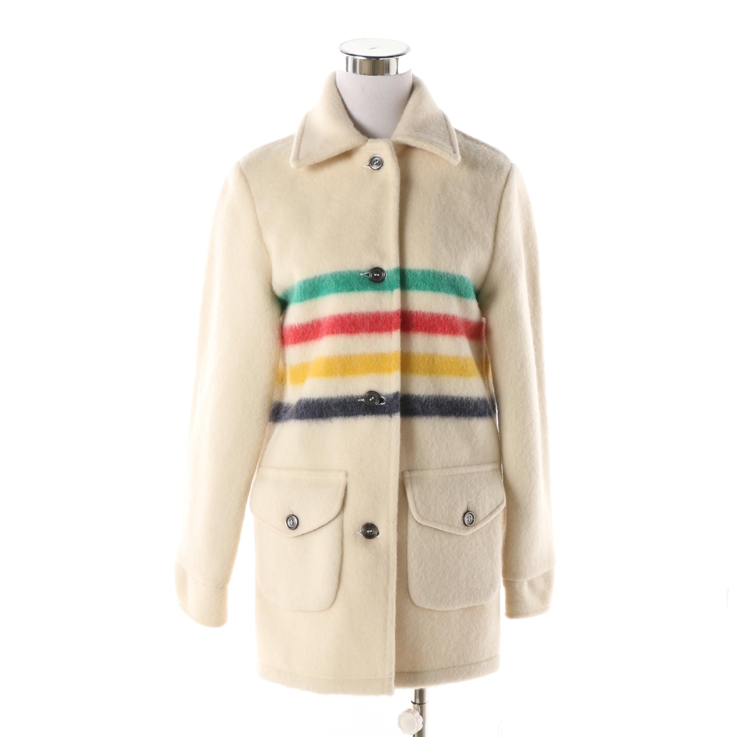 Women's Hudson's Bay Company Cream Wool Jacket with Multicolored Stripe Accents