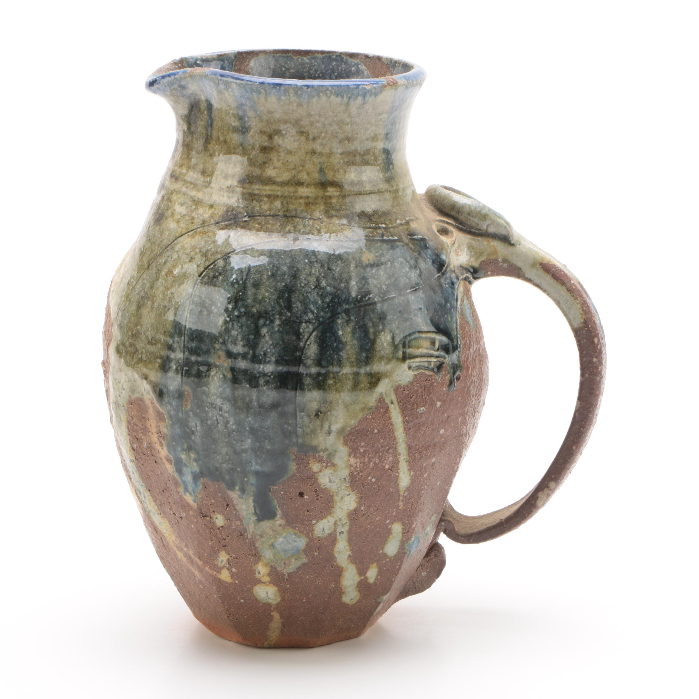 Thrown Stoneware Pitcher with Blue and Green Drip Glaze