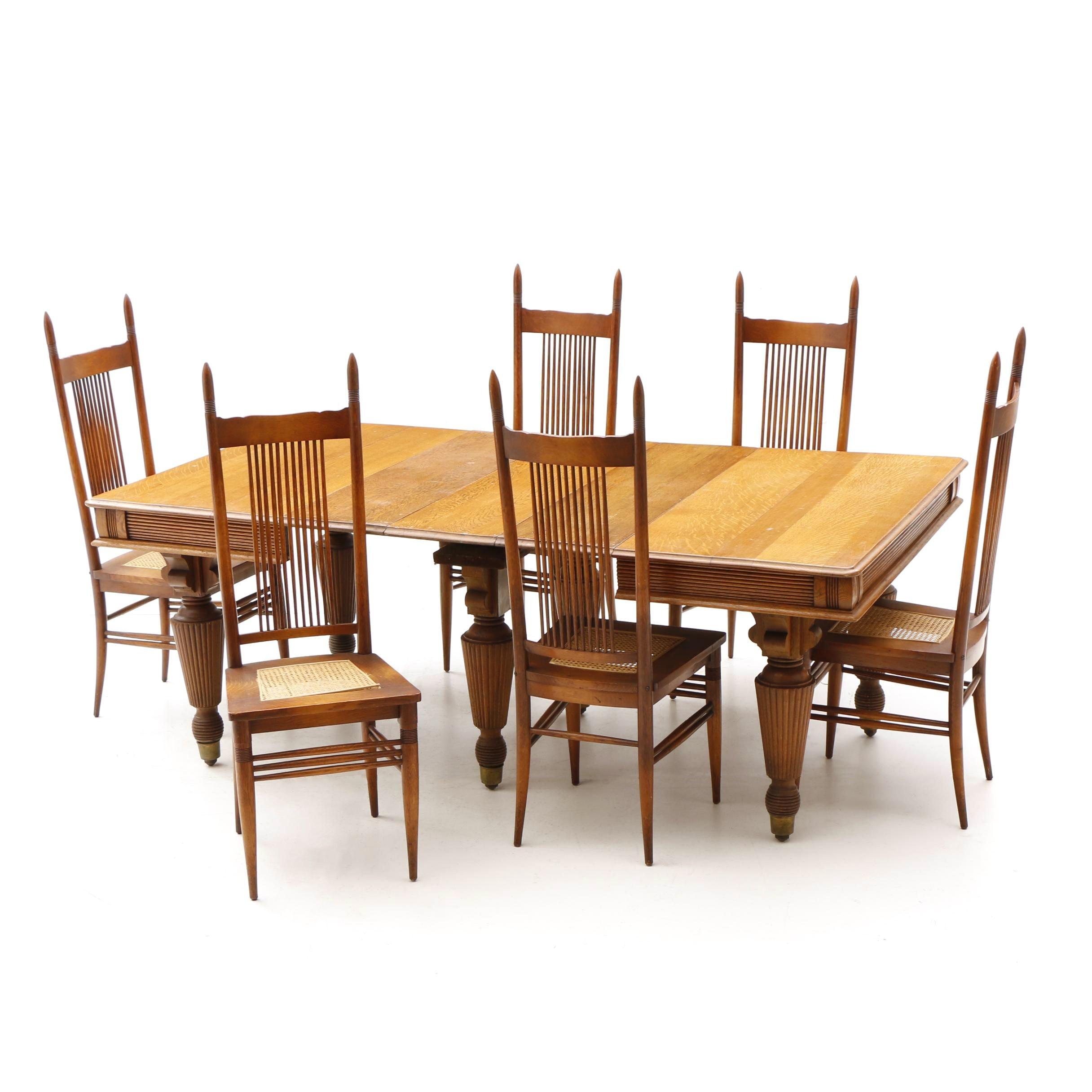 Oak Victorian Dining Set, 19th Century