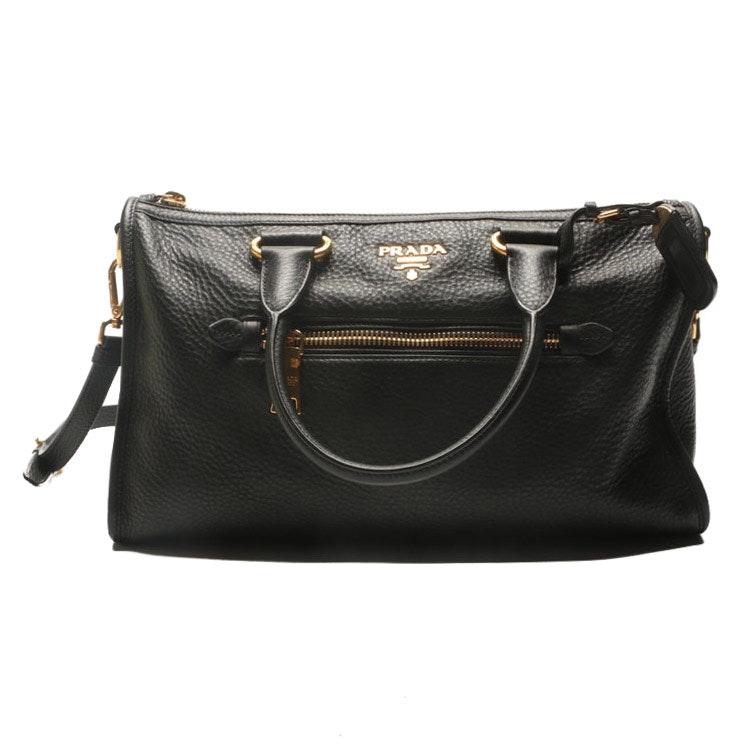 Prada Black Pebbled Leather Duffel-Style Handbag