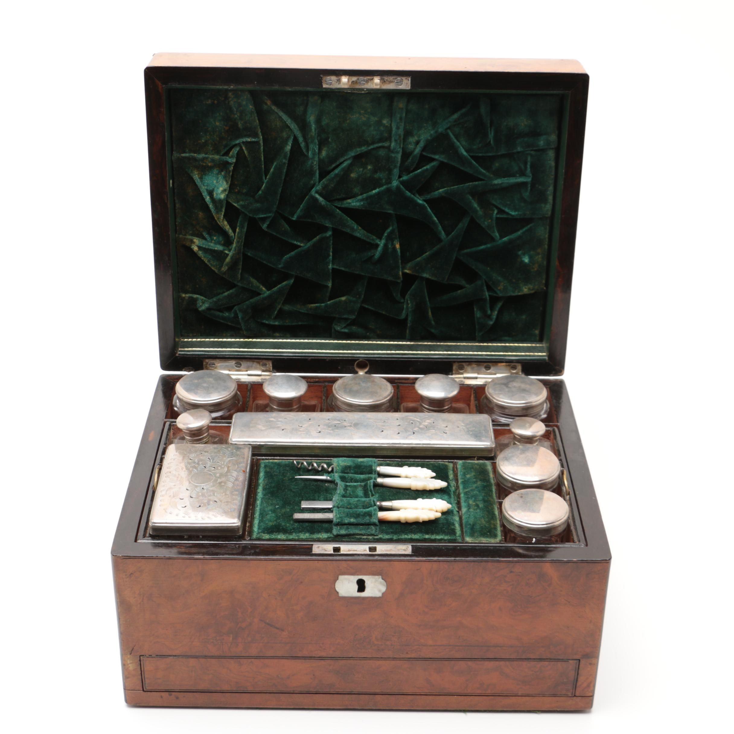 1866 Walnut Burl Vanity Box