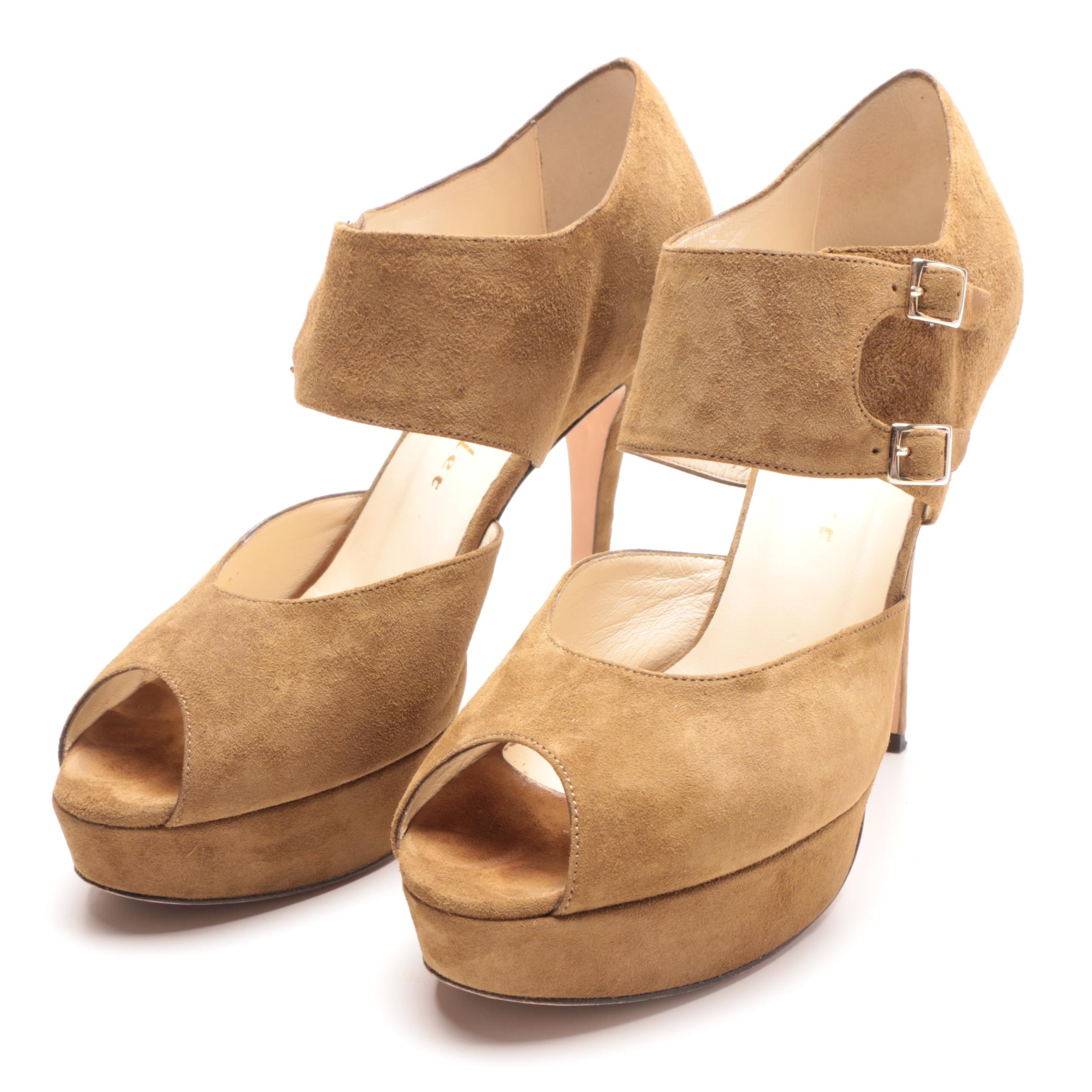 Bettye Muller Tan Suede Peep-Toe Platform Dress Sandals with Box