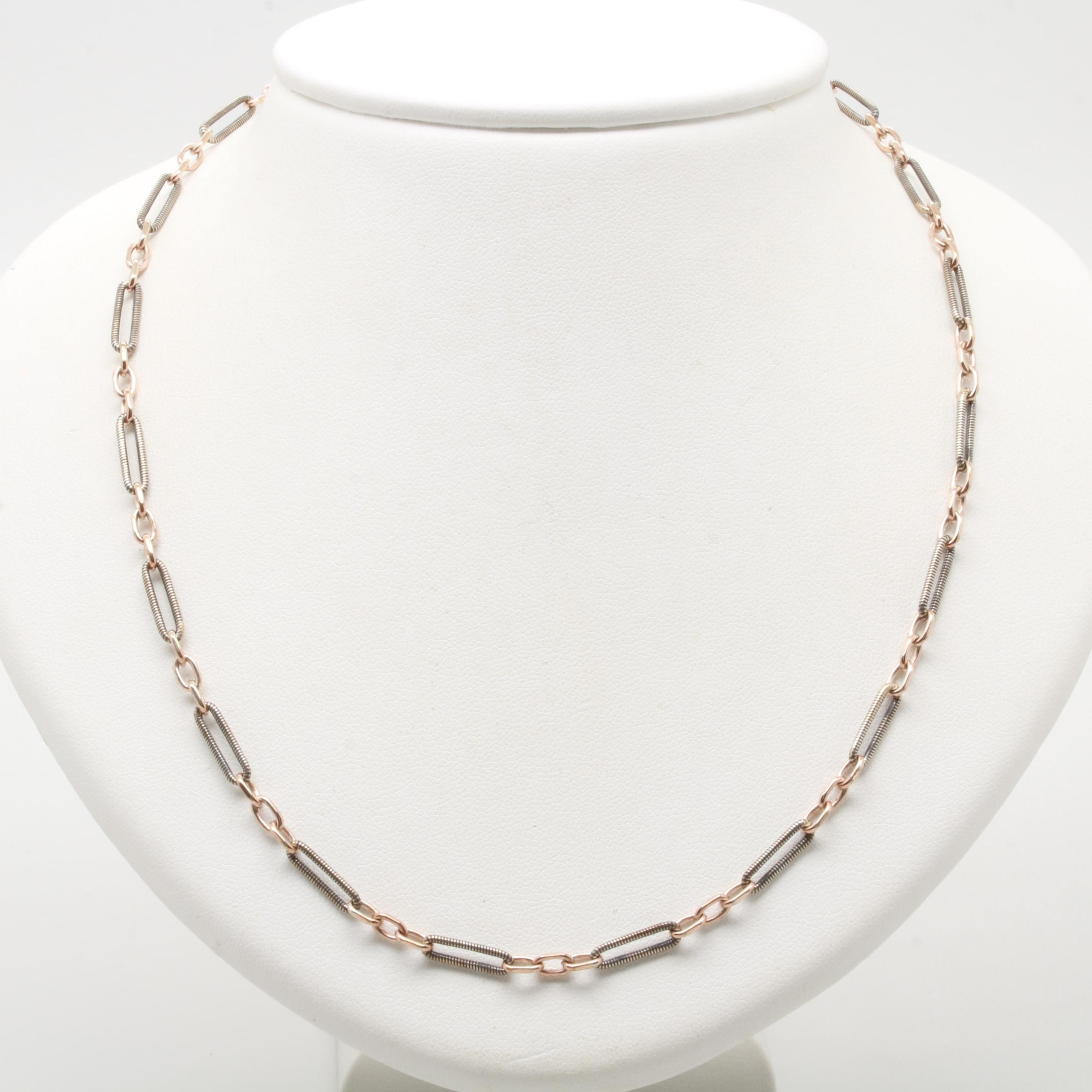 Sterling Silver and Base Metal Chain Link Necklace