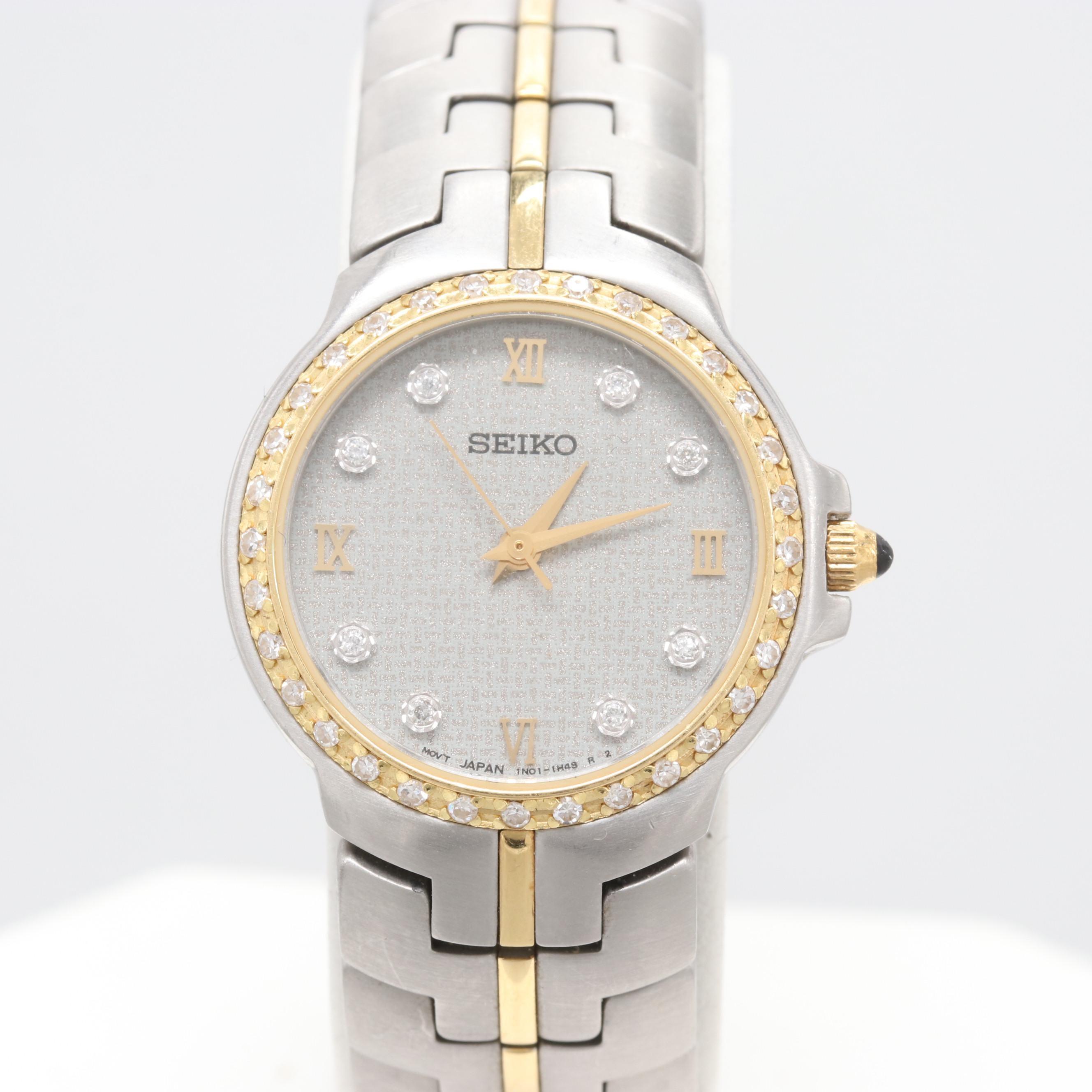 Seiko 18K Yellow Gold and Stainless Steel Diamond Wristwatch