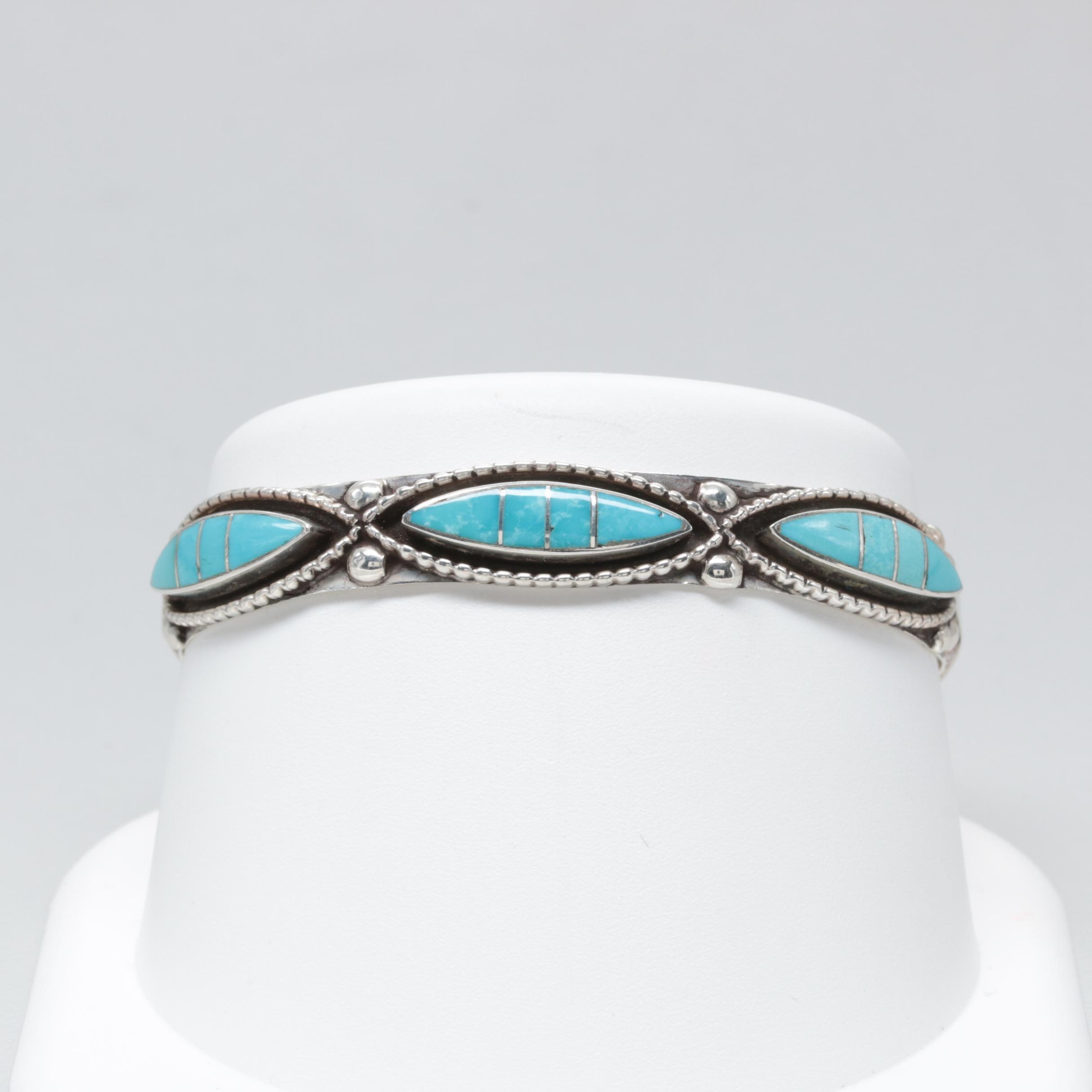 LLoyd Salvador Zuni Sterling Silver Turquoise Cuff Bracelet