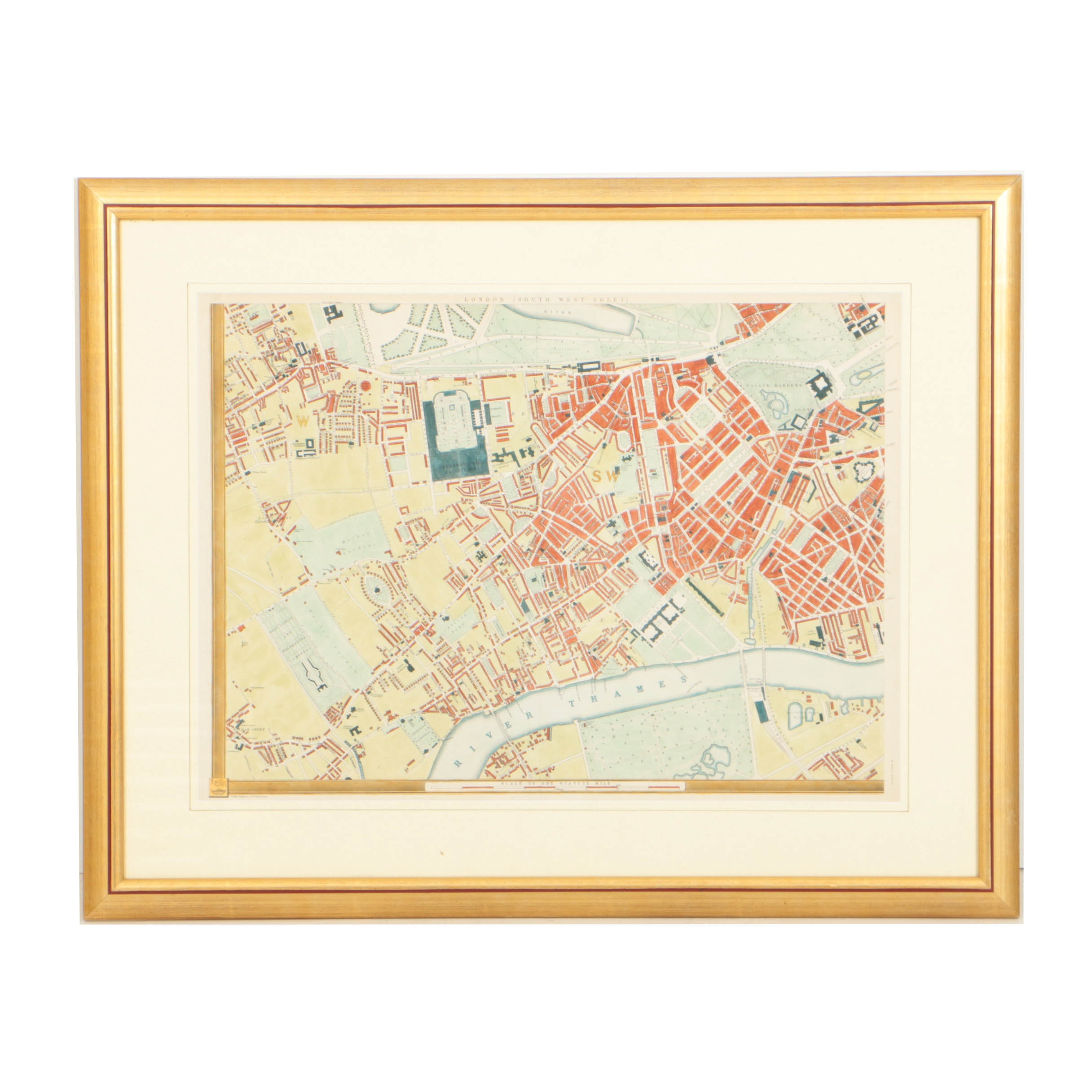 "Hand-Colored 19th Century Edward Weller Map ""London (South West Sheet)"""