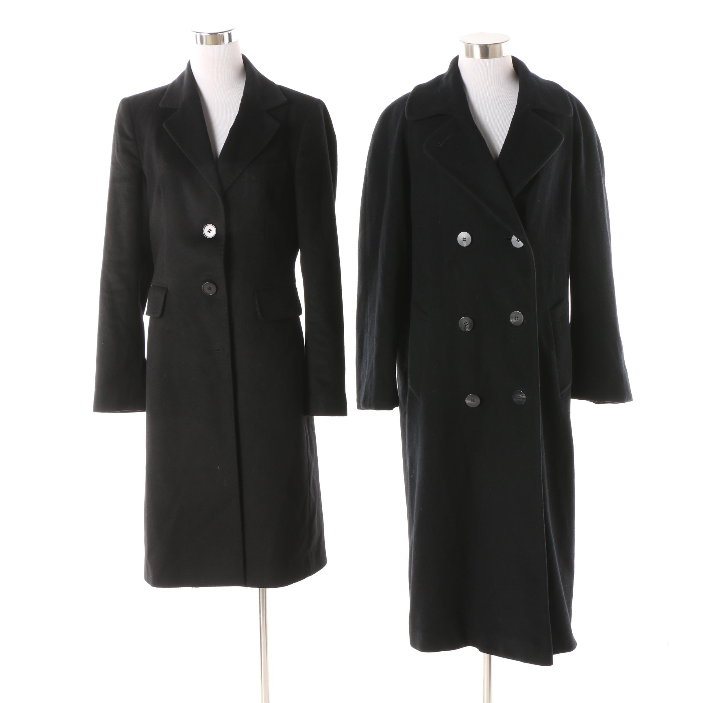 Women's Vintage and Contemporary Black Cashmere Coats including Regency Cashmere