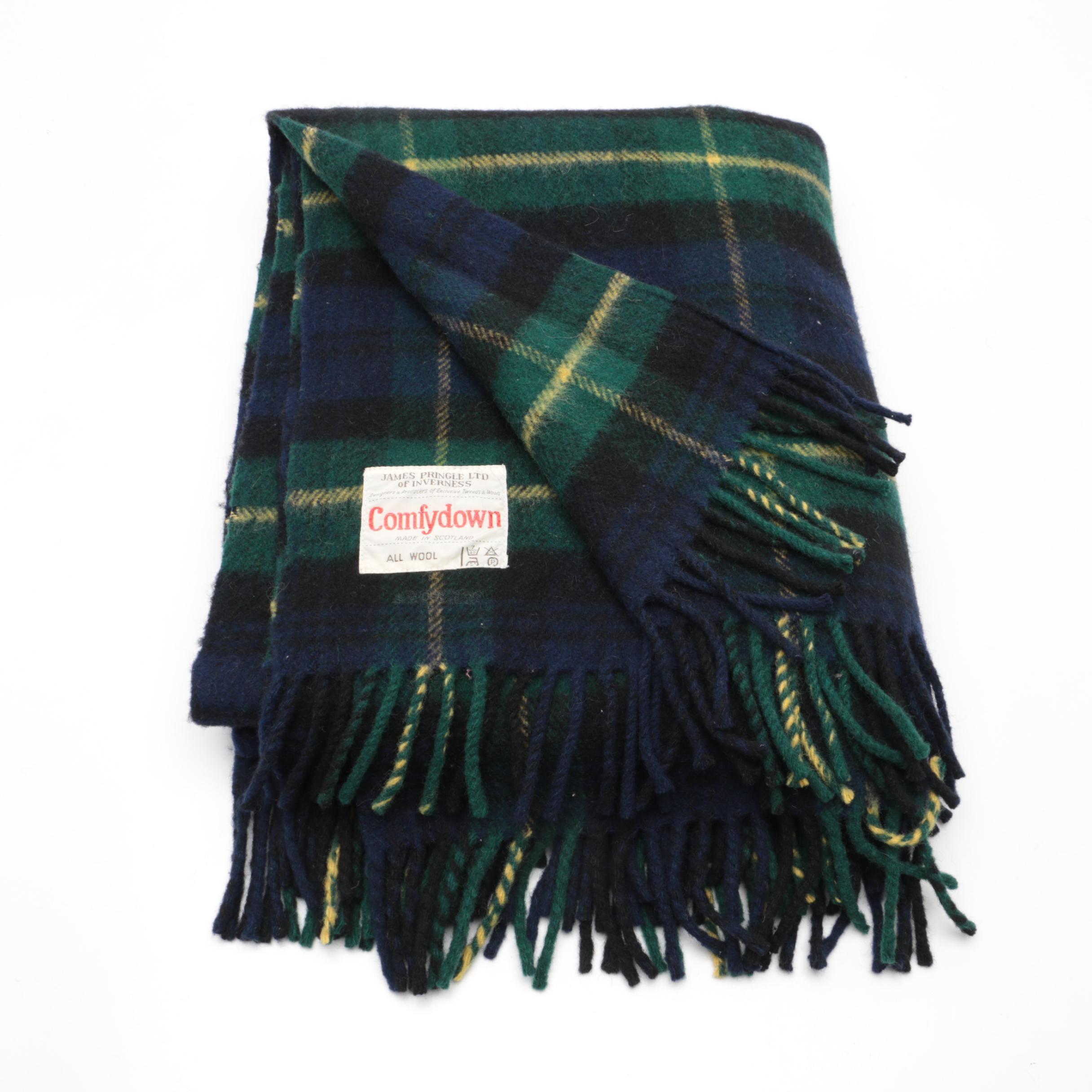 Scottish Black Watch Plaid Wool Throw