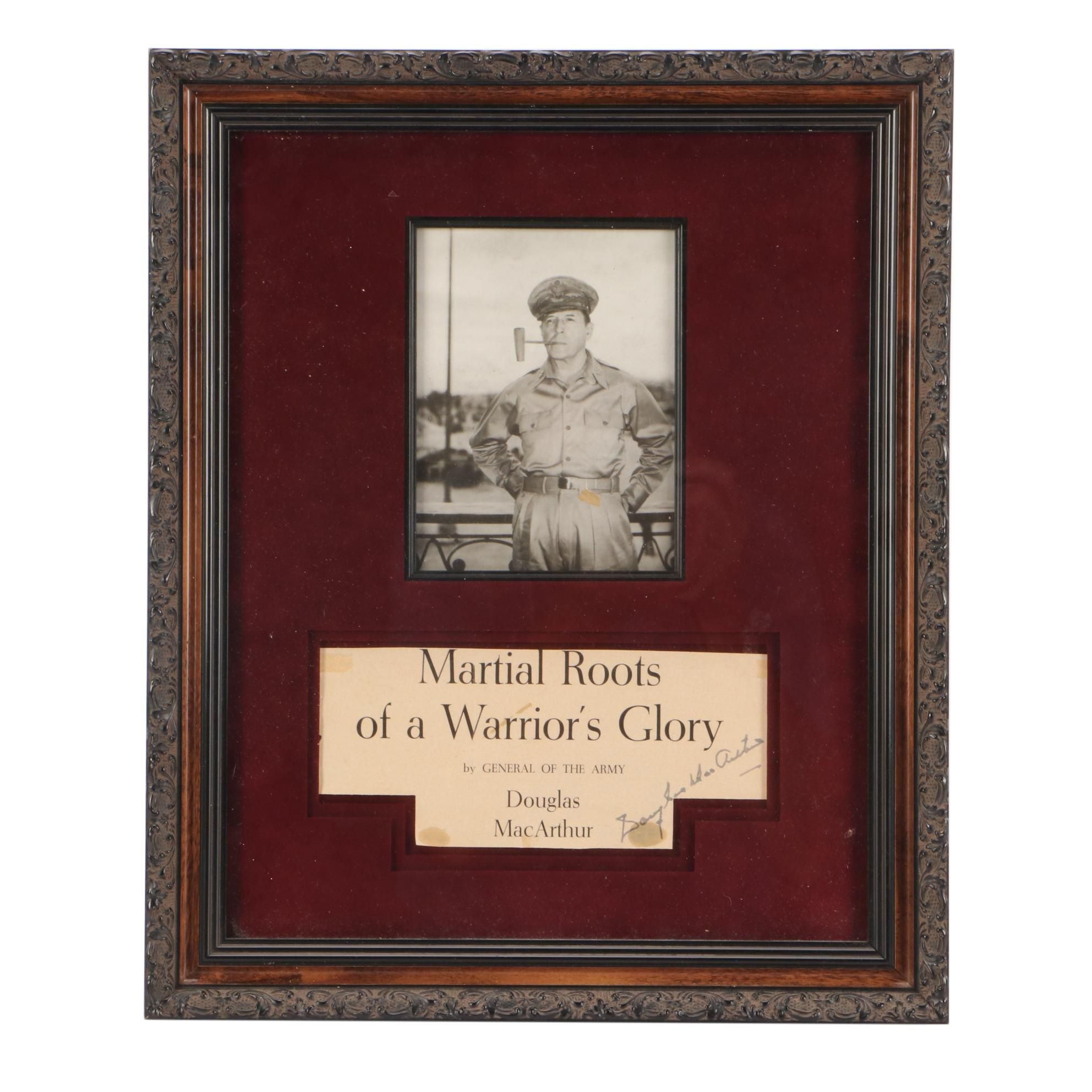 General Douglas MacArthur Signed Matted and Framed Military Display COA