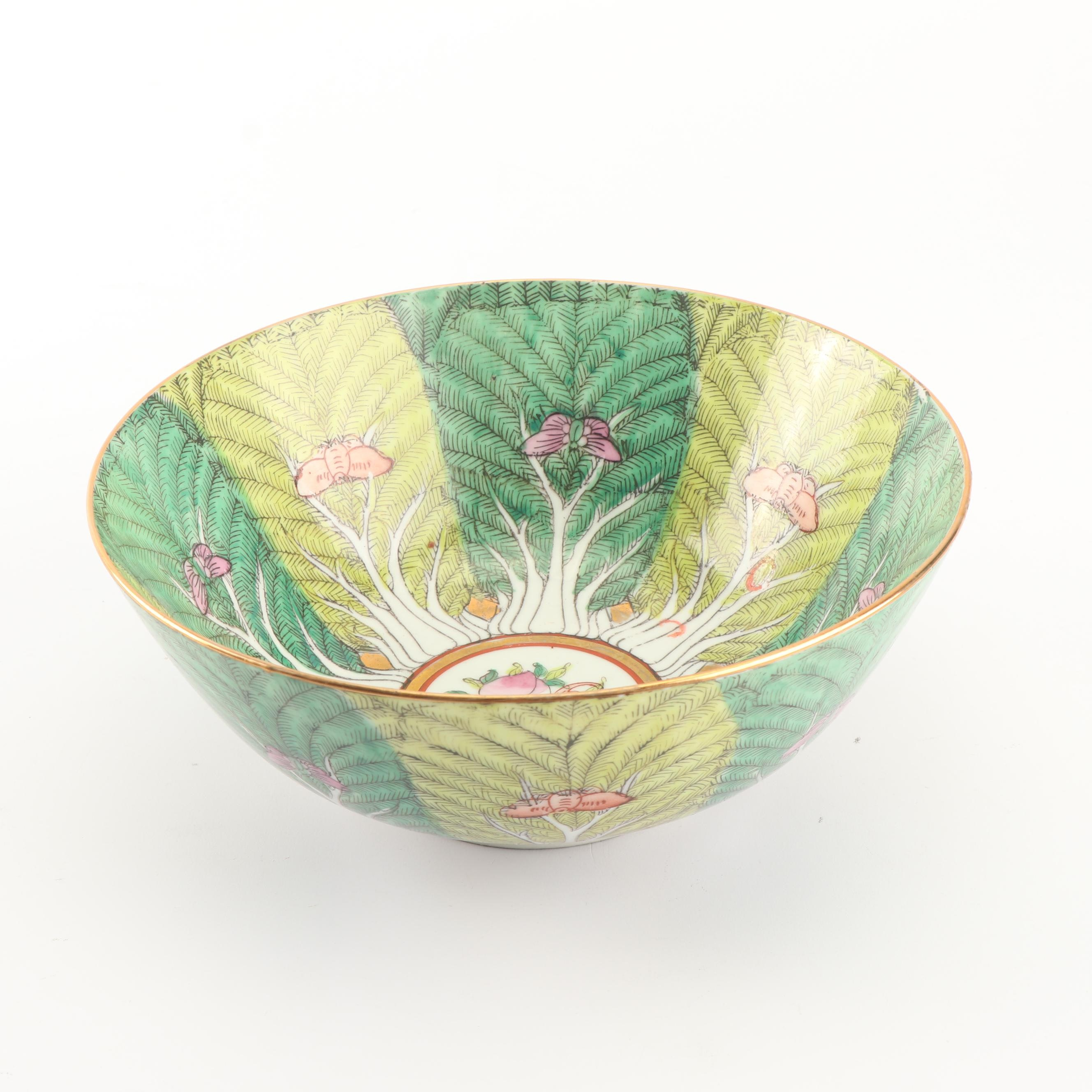 Chinese Cabbage Leaf and Butterfly Porcelain Bowl