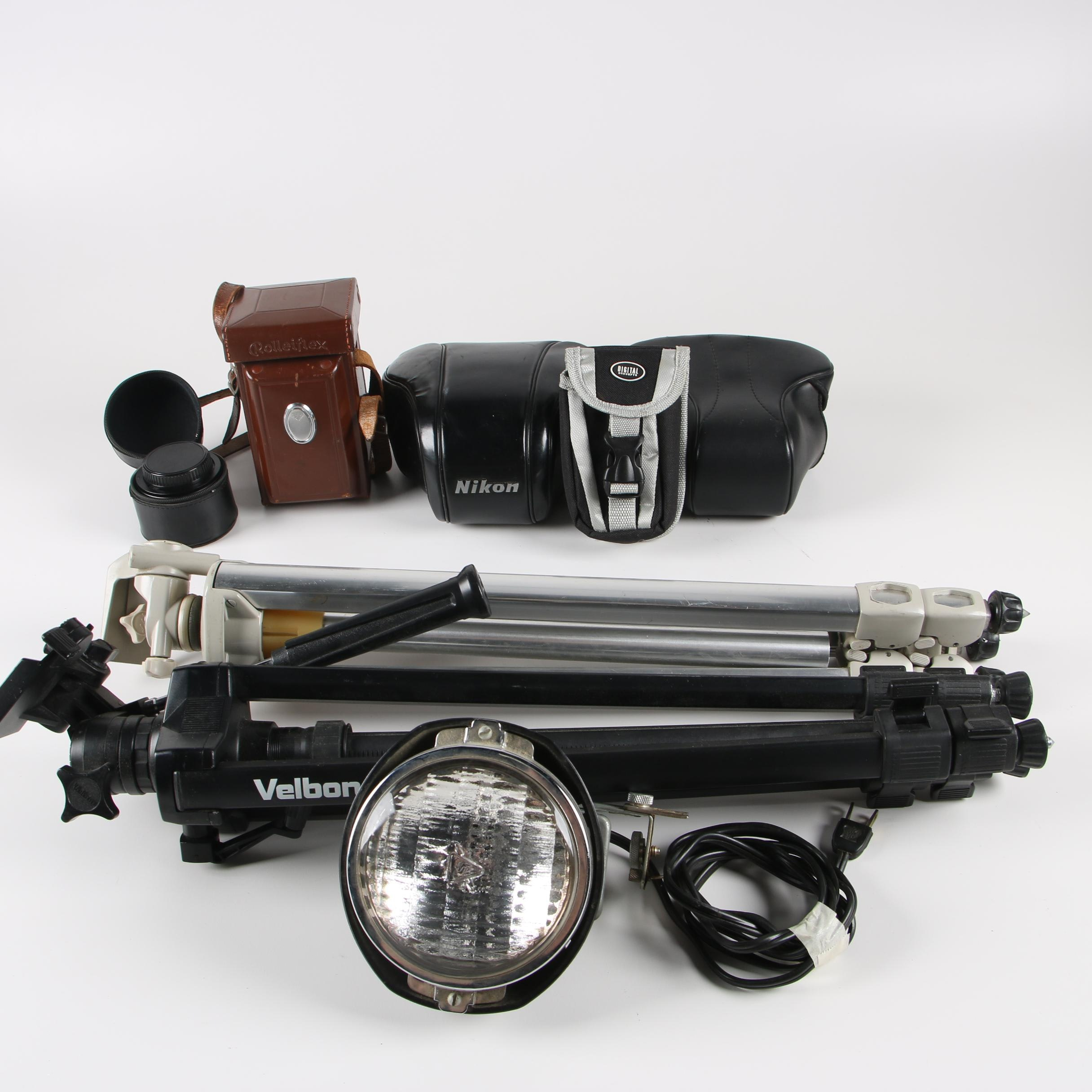 Vintage Tripods, Acme-Lite Super 8 Top-Mount Light, and Other Camera Accessories
