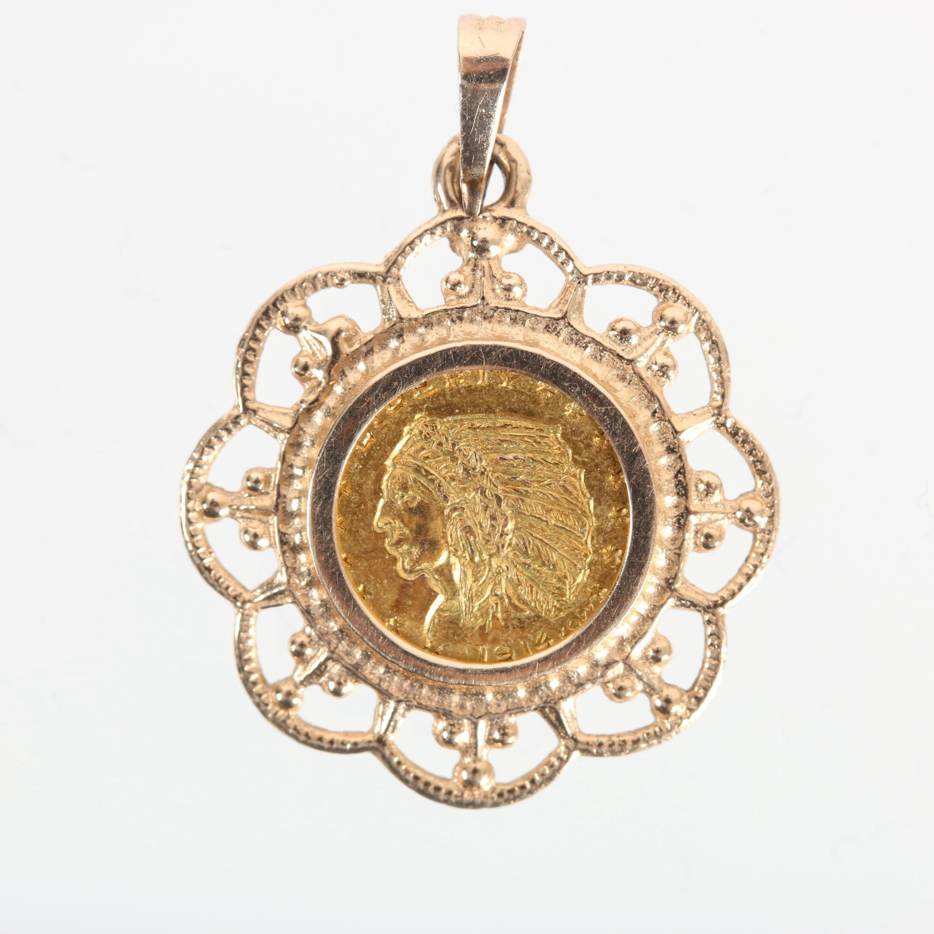 14K Yellow Gold Pendant with 10K Replica Indian Head $5 Gold Coin