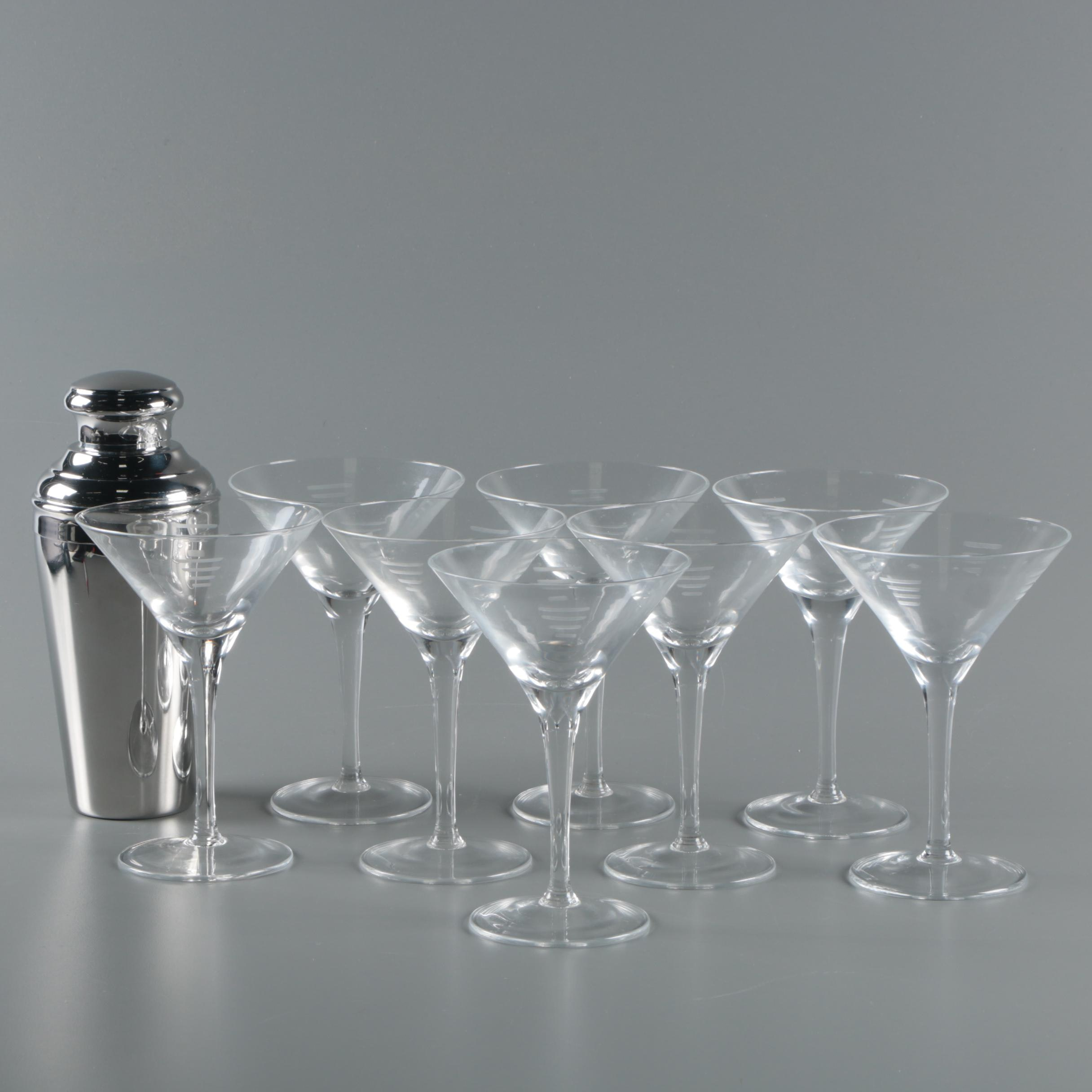 Stainless Steel Shaker with Etched Martini Glasses