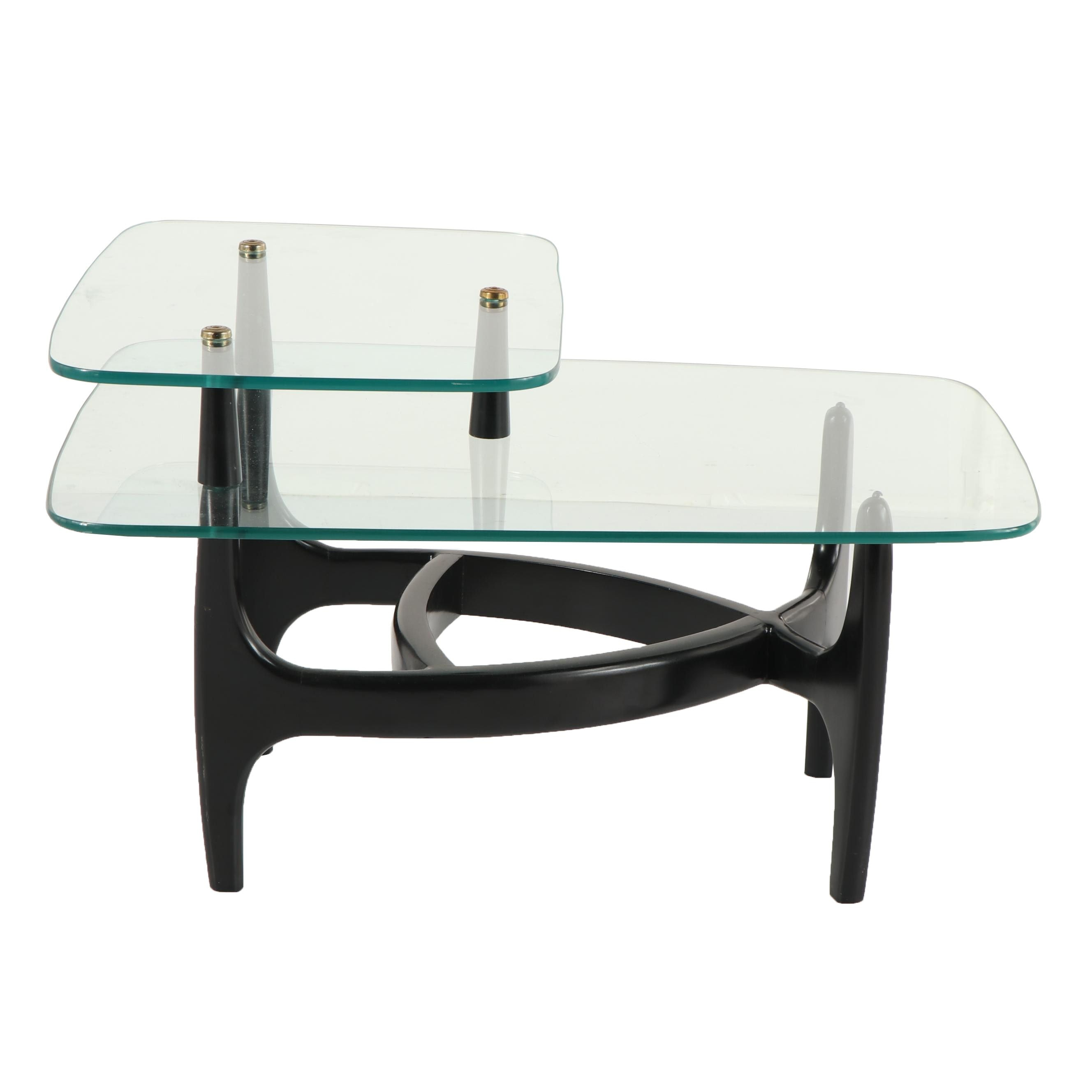 Modern Style Glass Top Two-Tier Side Table, 21st Century