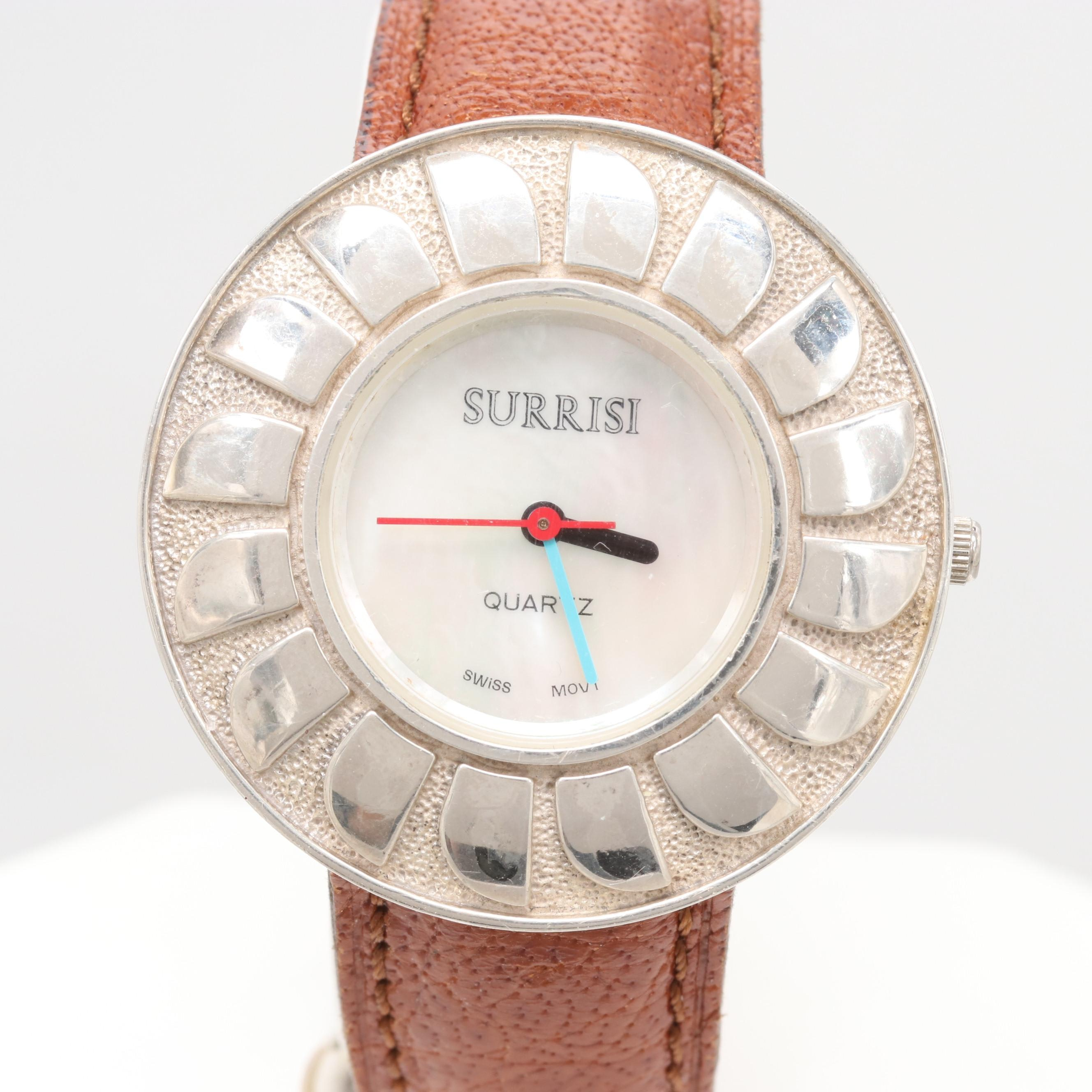 Surrisi Sterling Silver Mother of Pearl Wristwatch