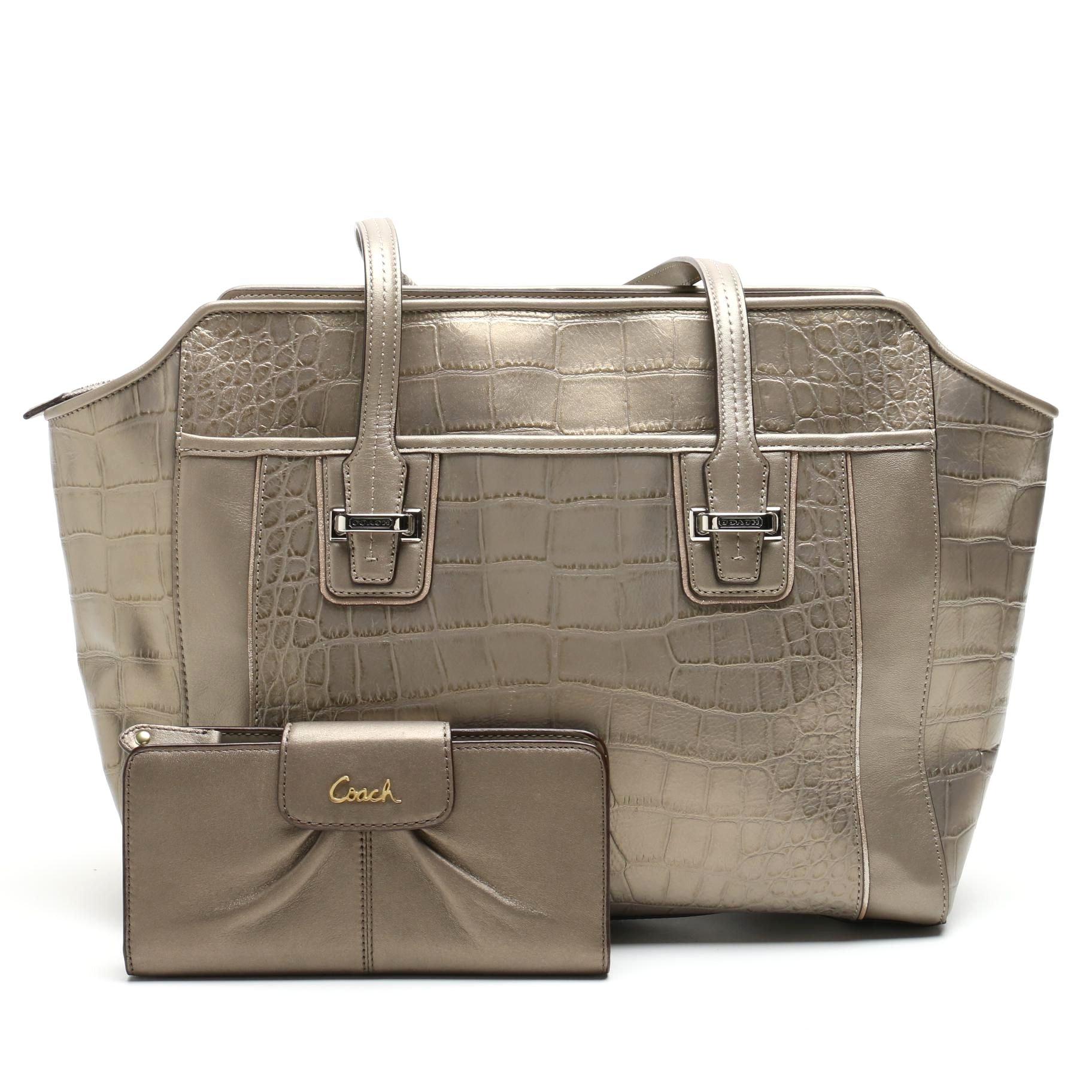 Coach Taylor Embossed Leather Alexis Carryall and Ashley Leather Wallet