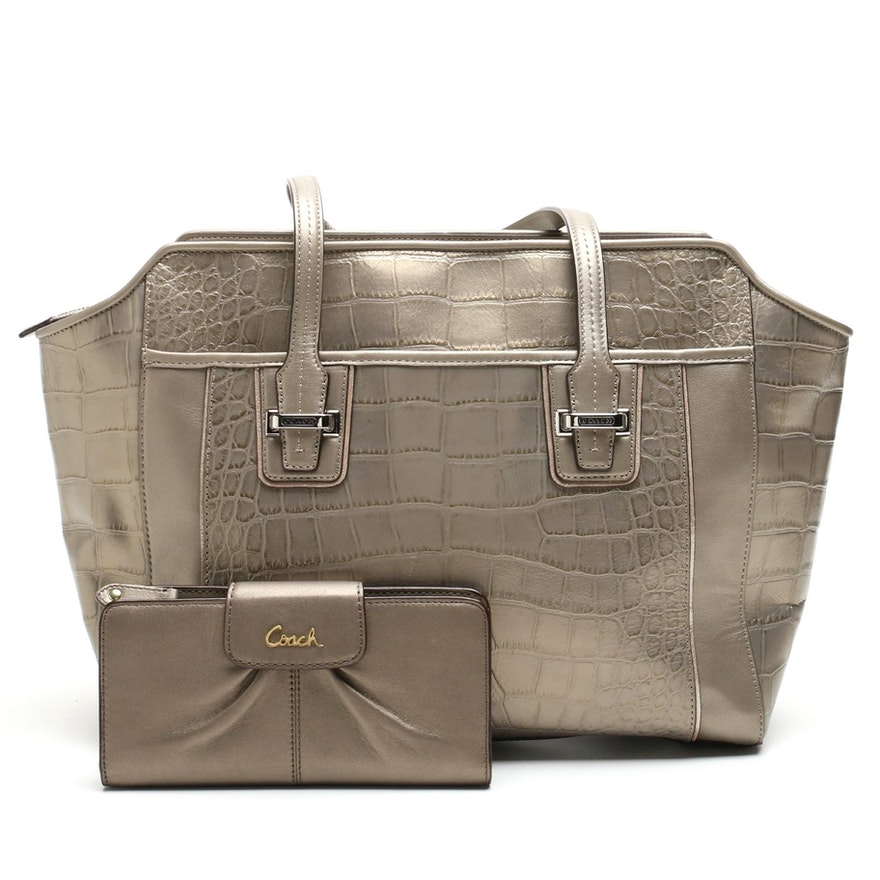 4c91dfc3bf91 Coach Taylor Embossed Leather Alexis Carryall and Ashley Leather Wallet    EBTH