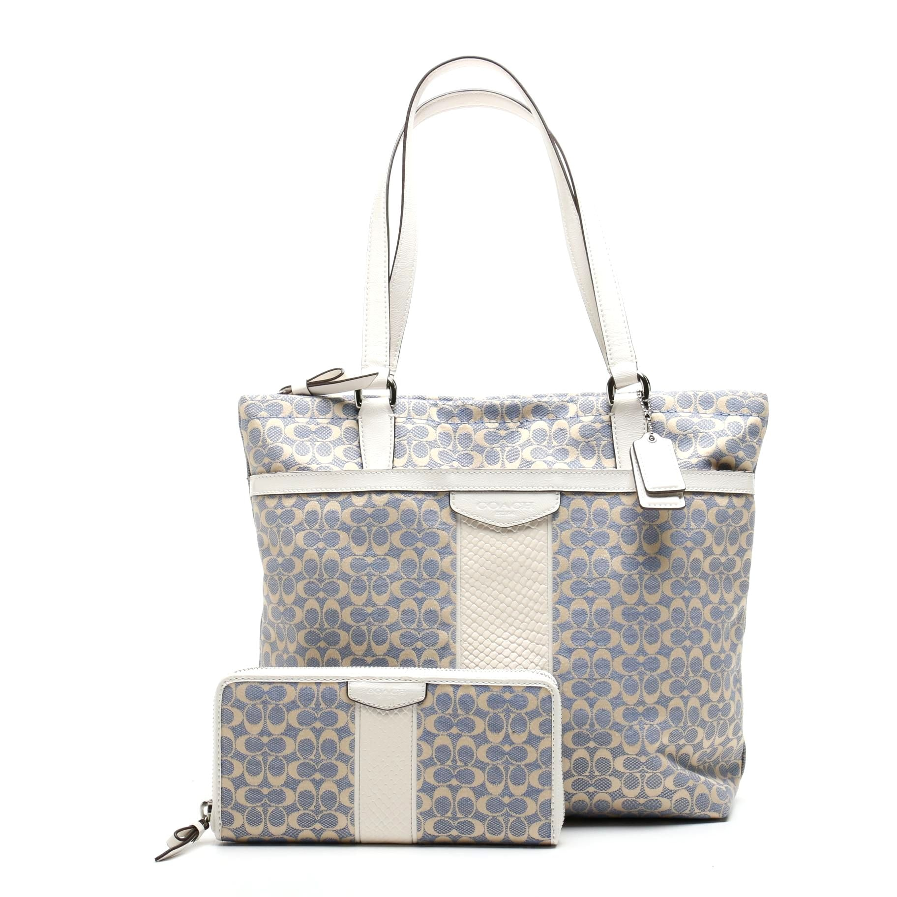 Coach Signature Jacquard Tote with Matching Wallet