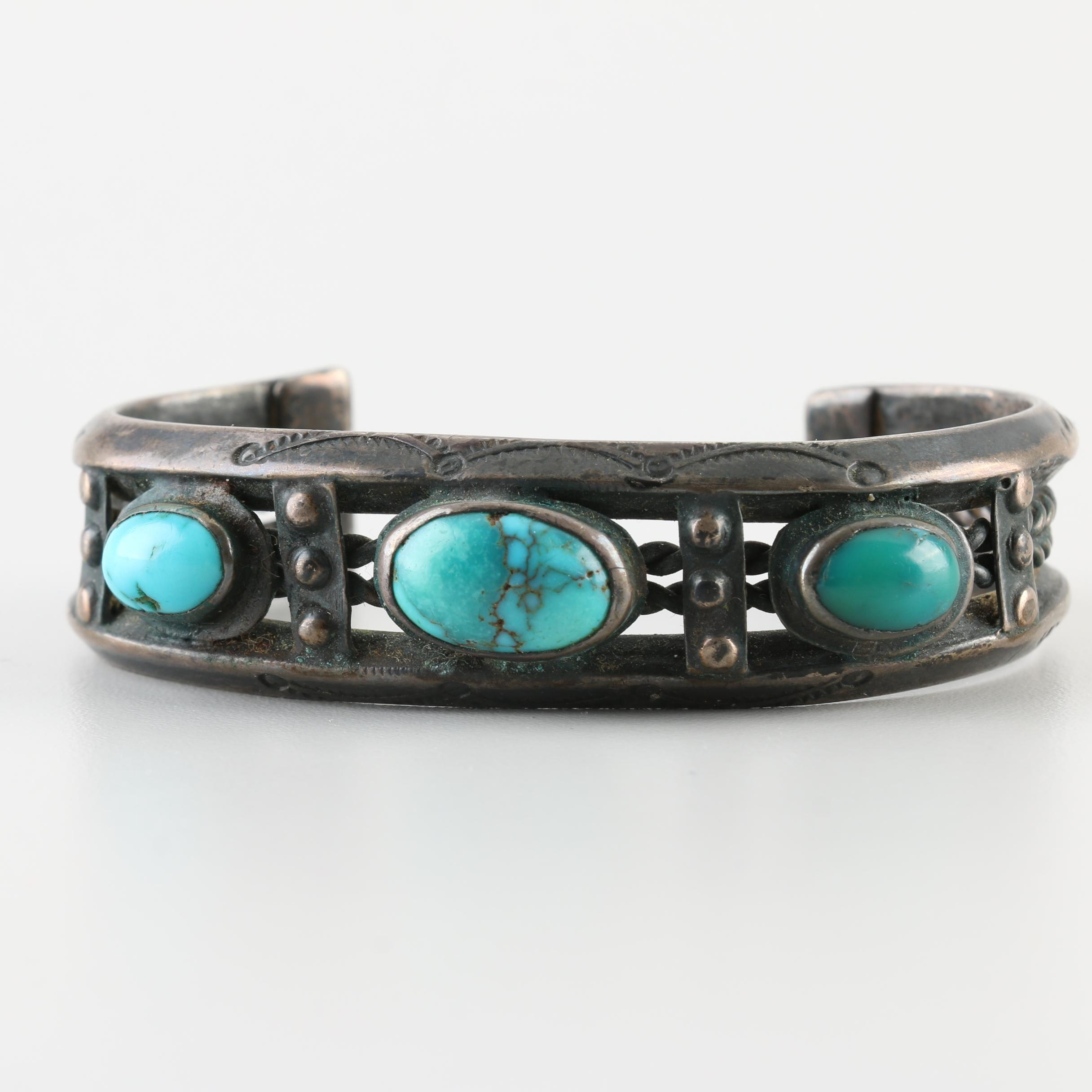 Old Pawn Southwestern Style Sterling Silver Turquoise Handmade Cuff Bracelet