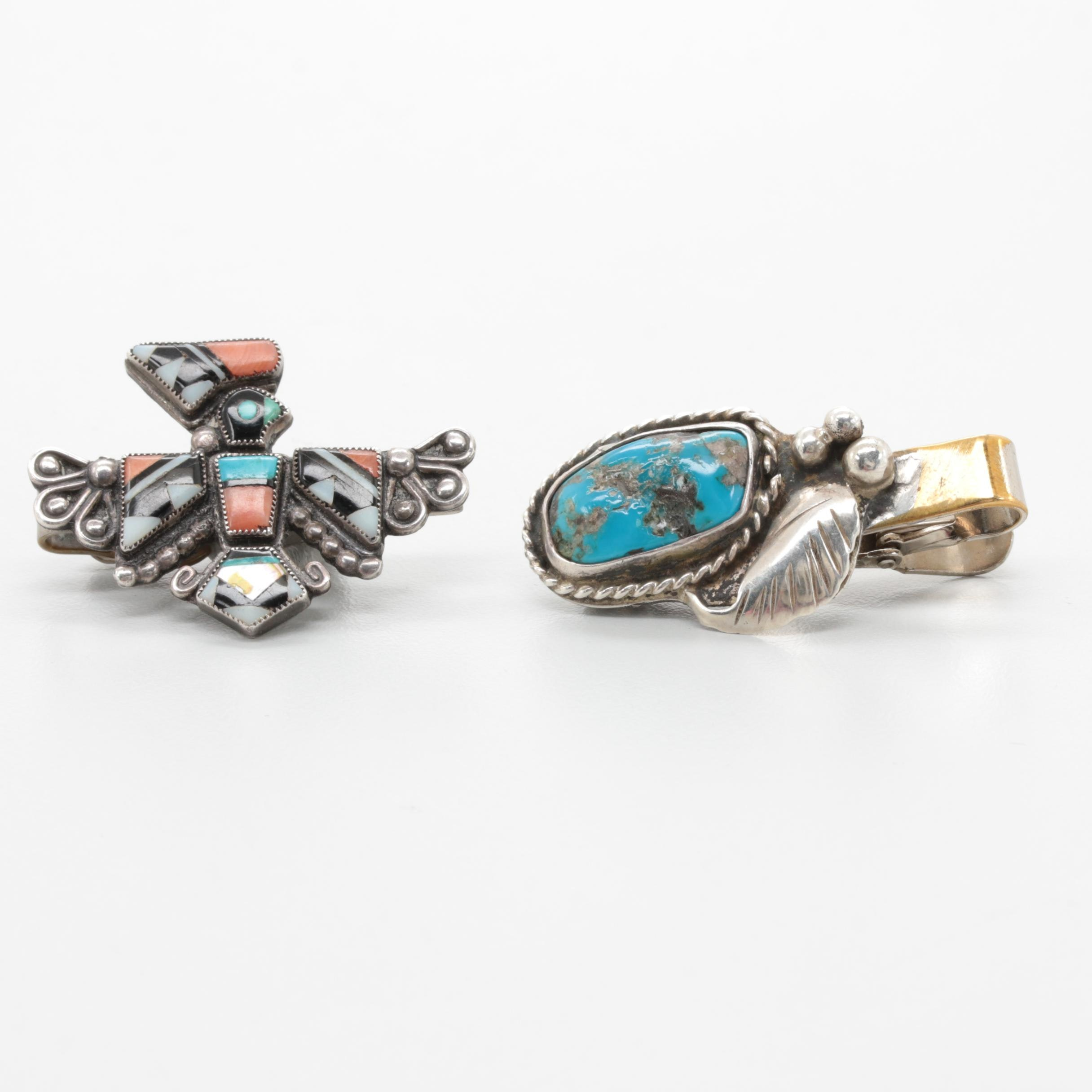 Southwestern Style Sterling Silver Tie Clip Assortment with Turquoise and Coral