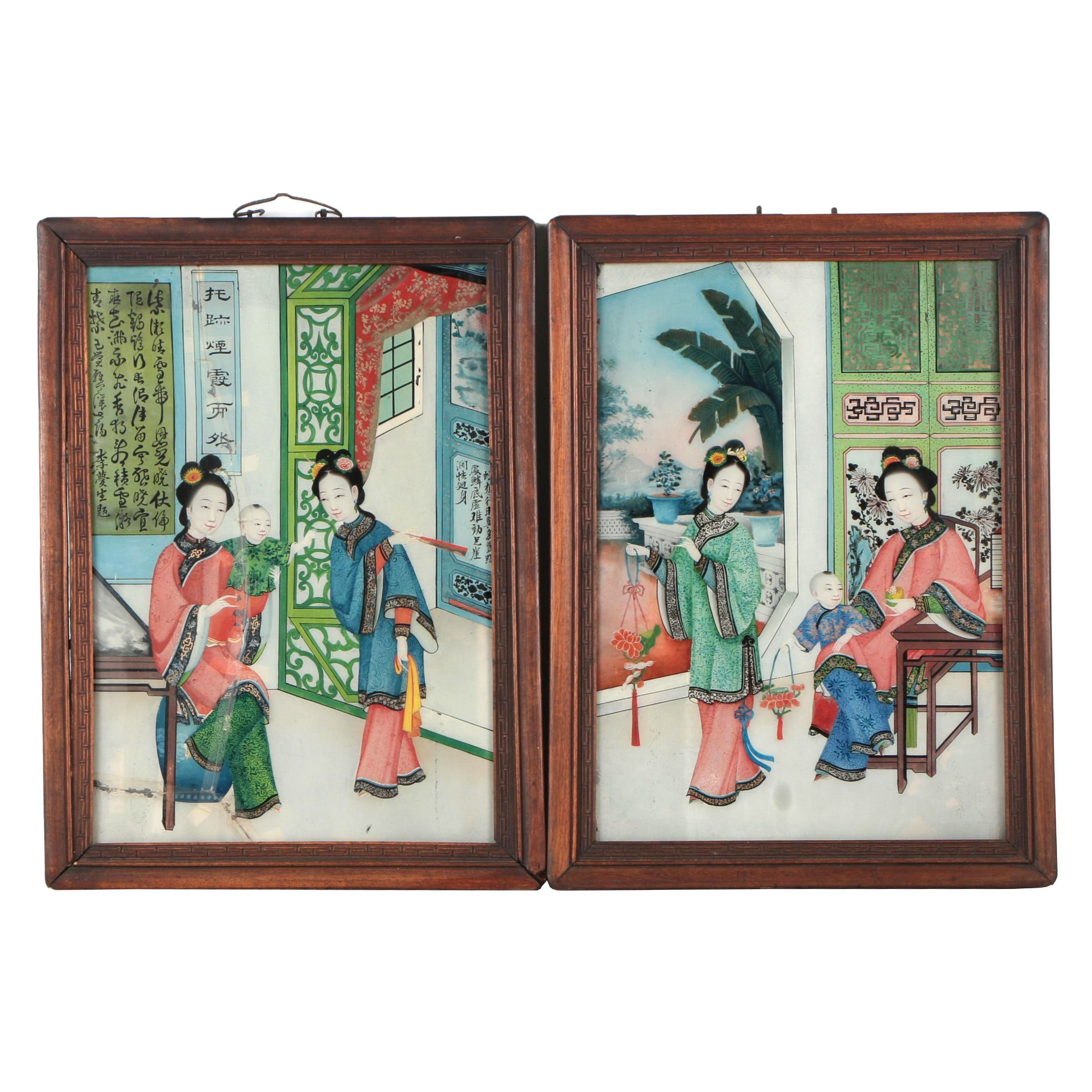 19th Century Chinese Reverse Painted Glass Panels