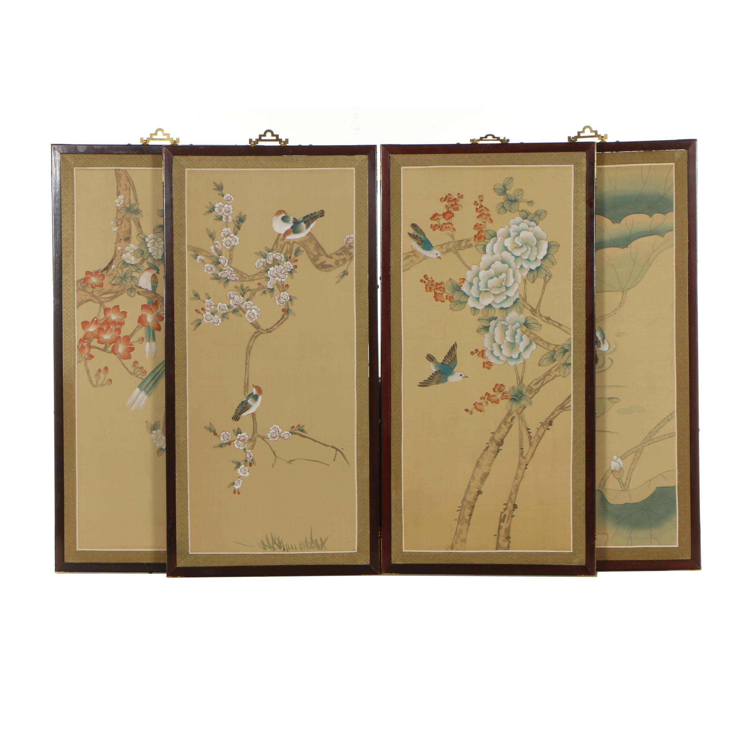 Chinese Watercolor and Gouache Painted Wall Panels