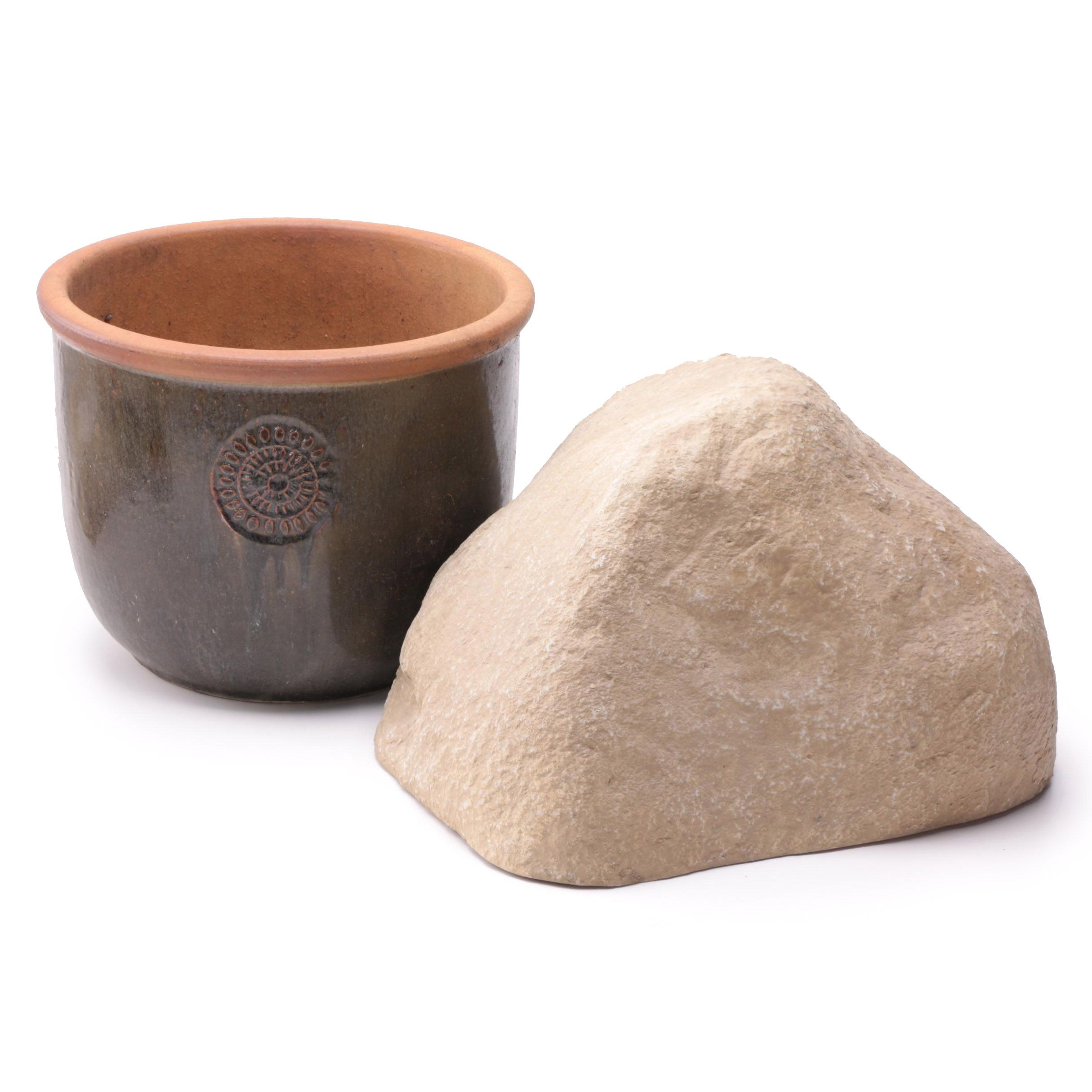 Pond Logic Faux Rock Form and Earthenware Planter
