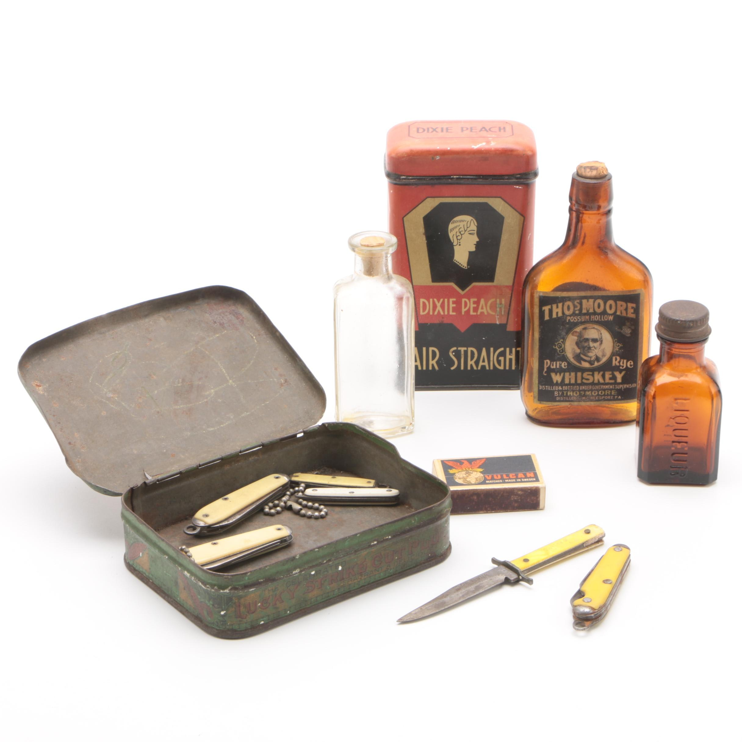 Dixie Peach Hair Straight and Lucky Strike Tins, Bottles, Knives and More