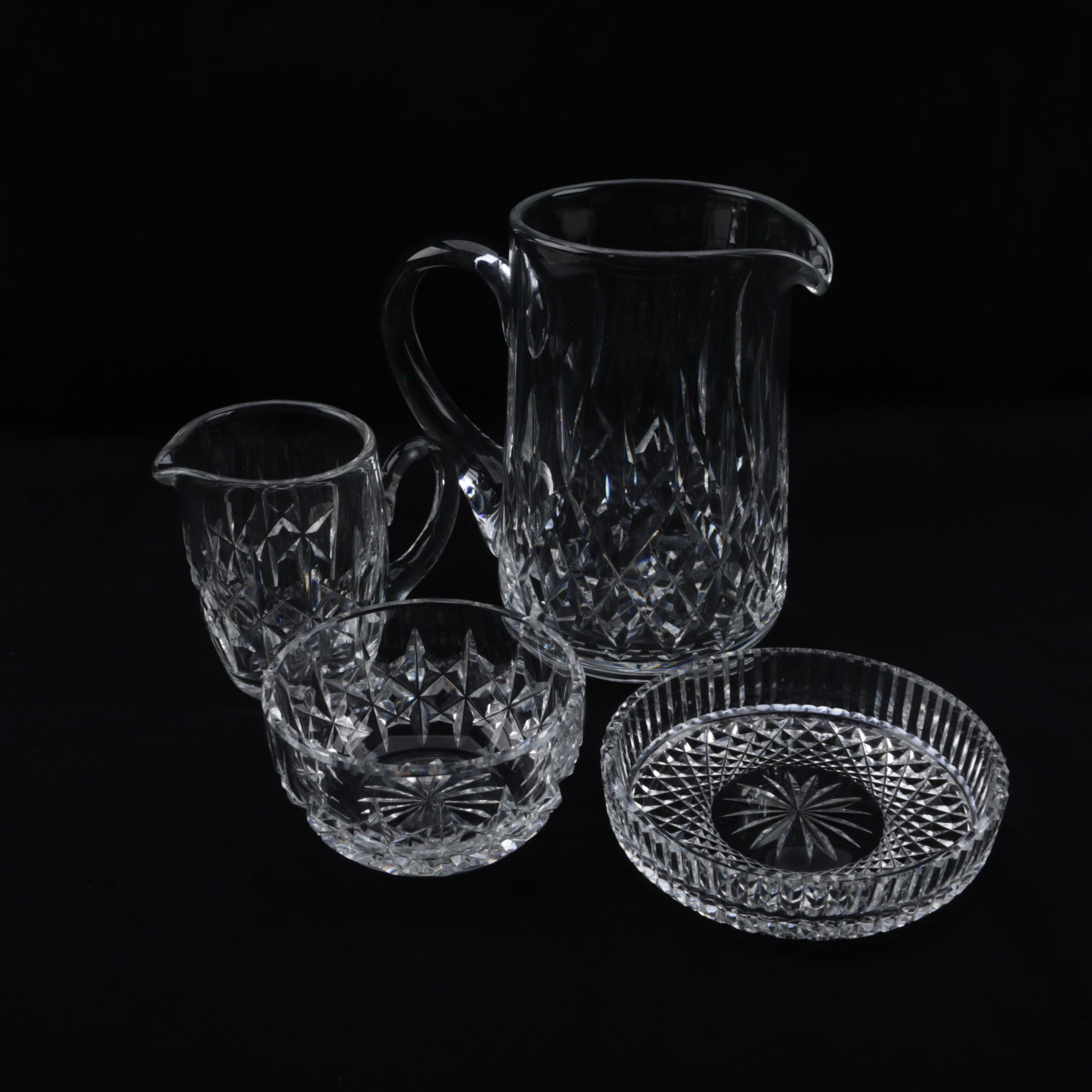 "Waterford Crystal ""Colleen"" Coaster and ""Lismore"" Pitcher with Creamer and Sugar"