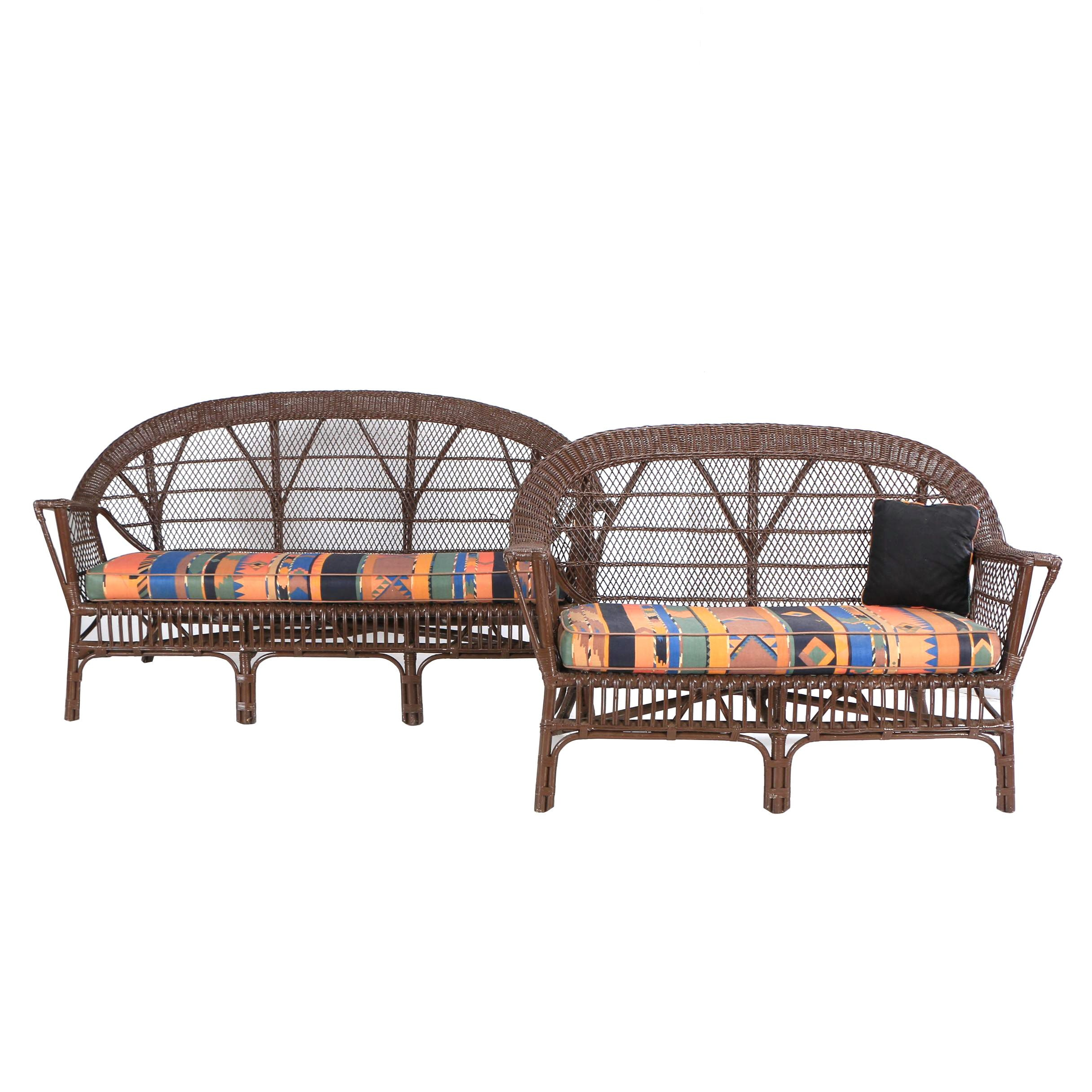 Painted Wicker Patio Sofa and Loveseat, 20th Century