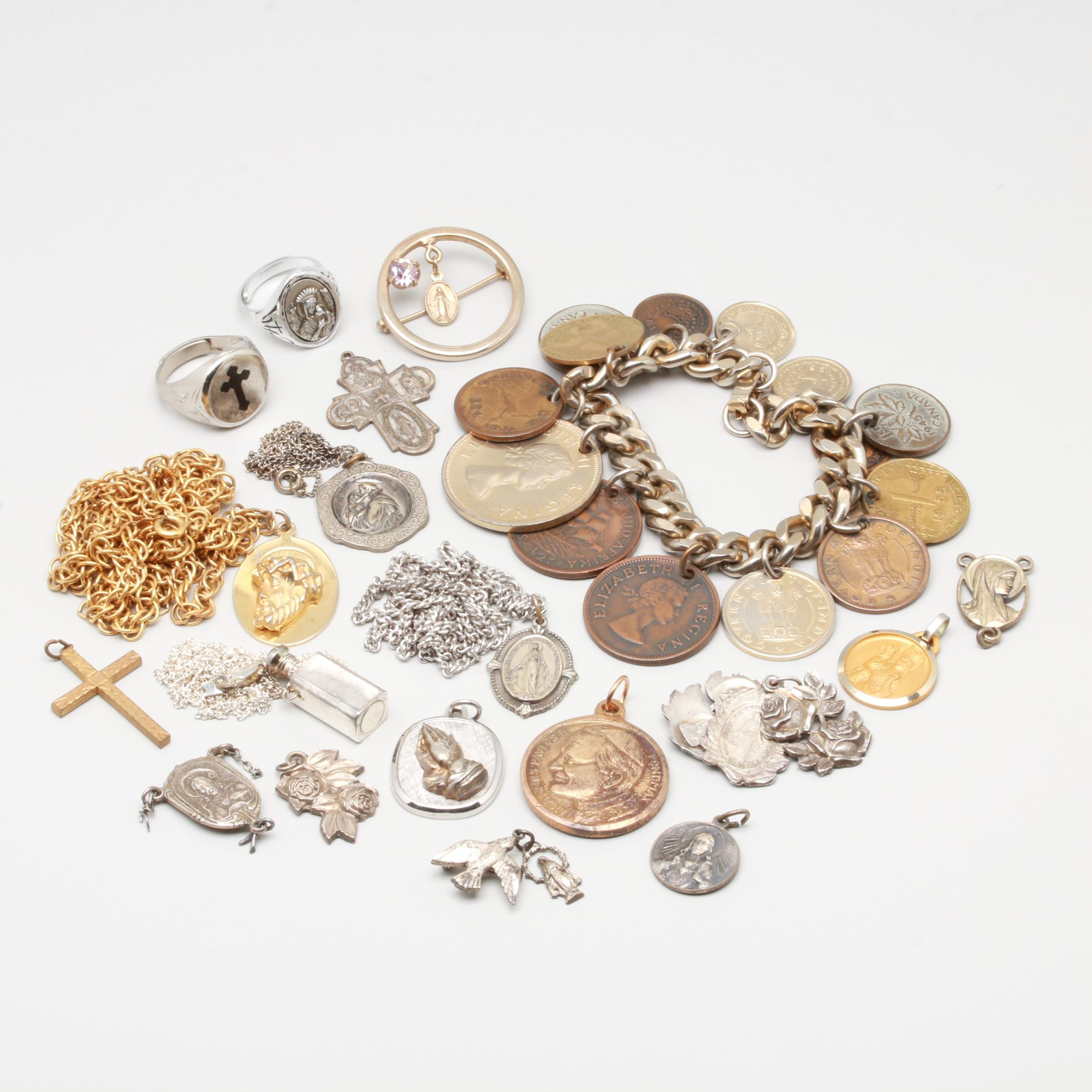 Sterling Silver and Costume Jewelry Featuring Religious Pieces