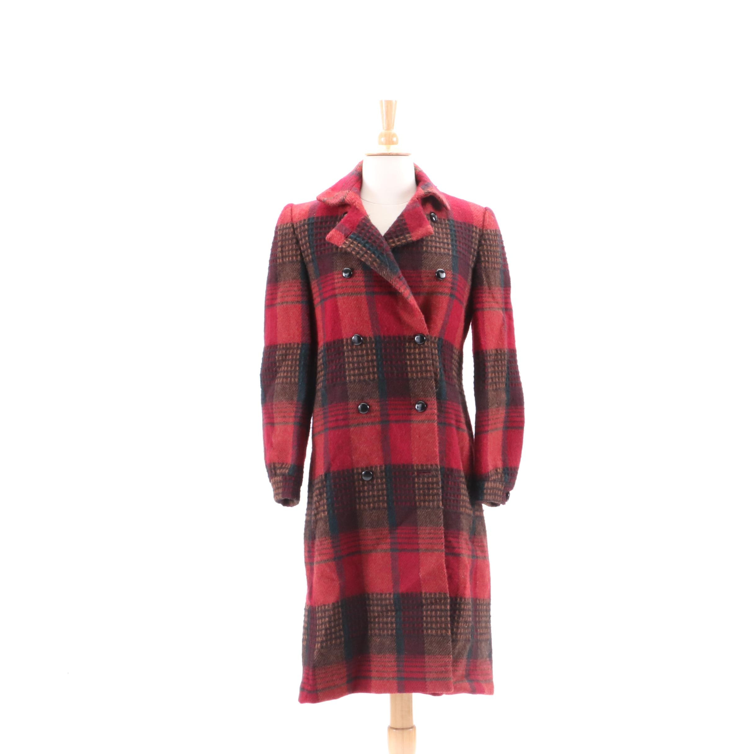 Vintage Nipon Coature Glen Plaid Wool Double-Breasted Coat