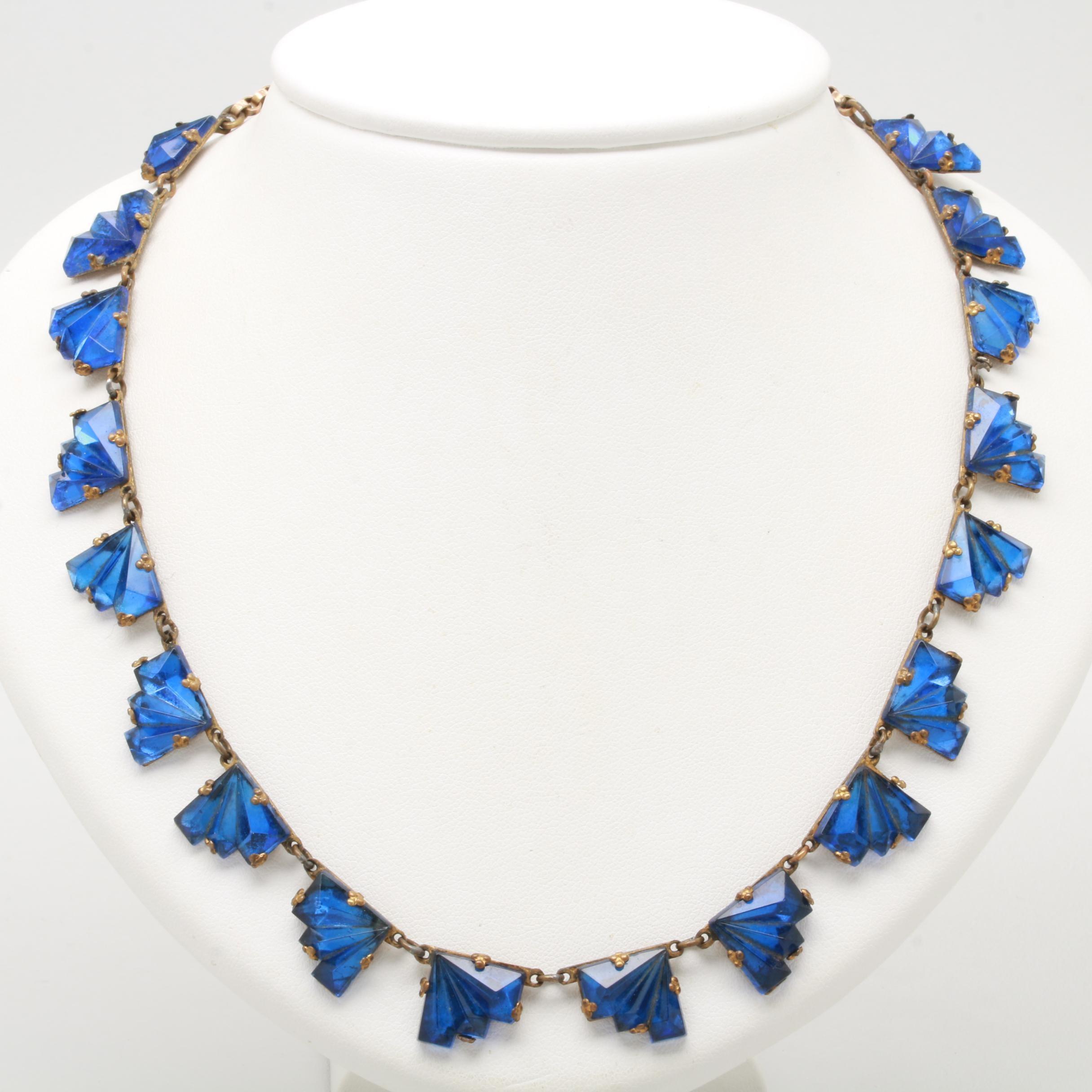 Art Deco Gold Tone Glass Necklace