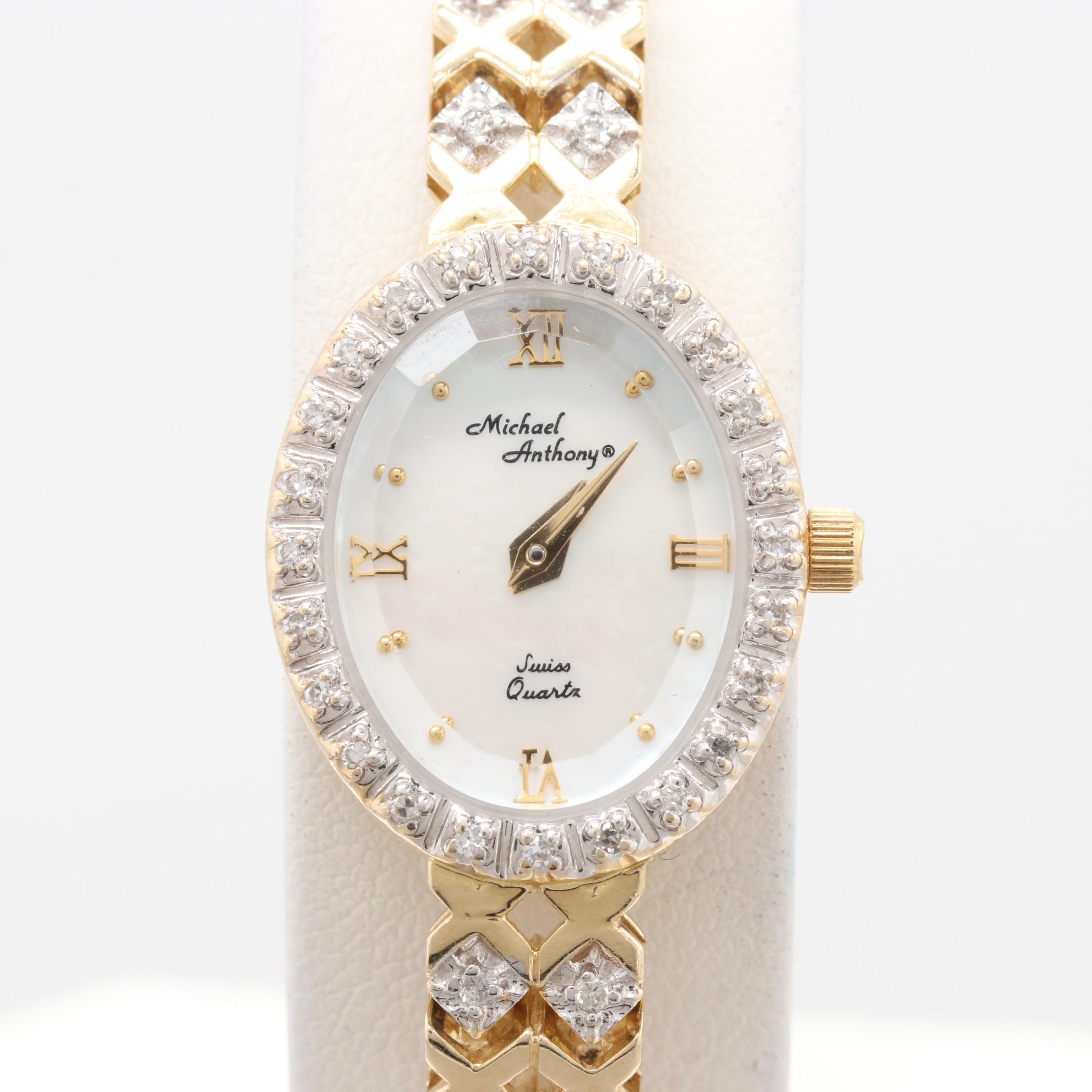 Michael Anthony 14K Yellow Gold Diamond and Mother of Pearl Wristwatch