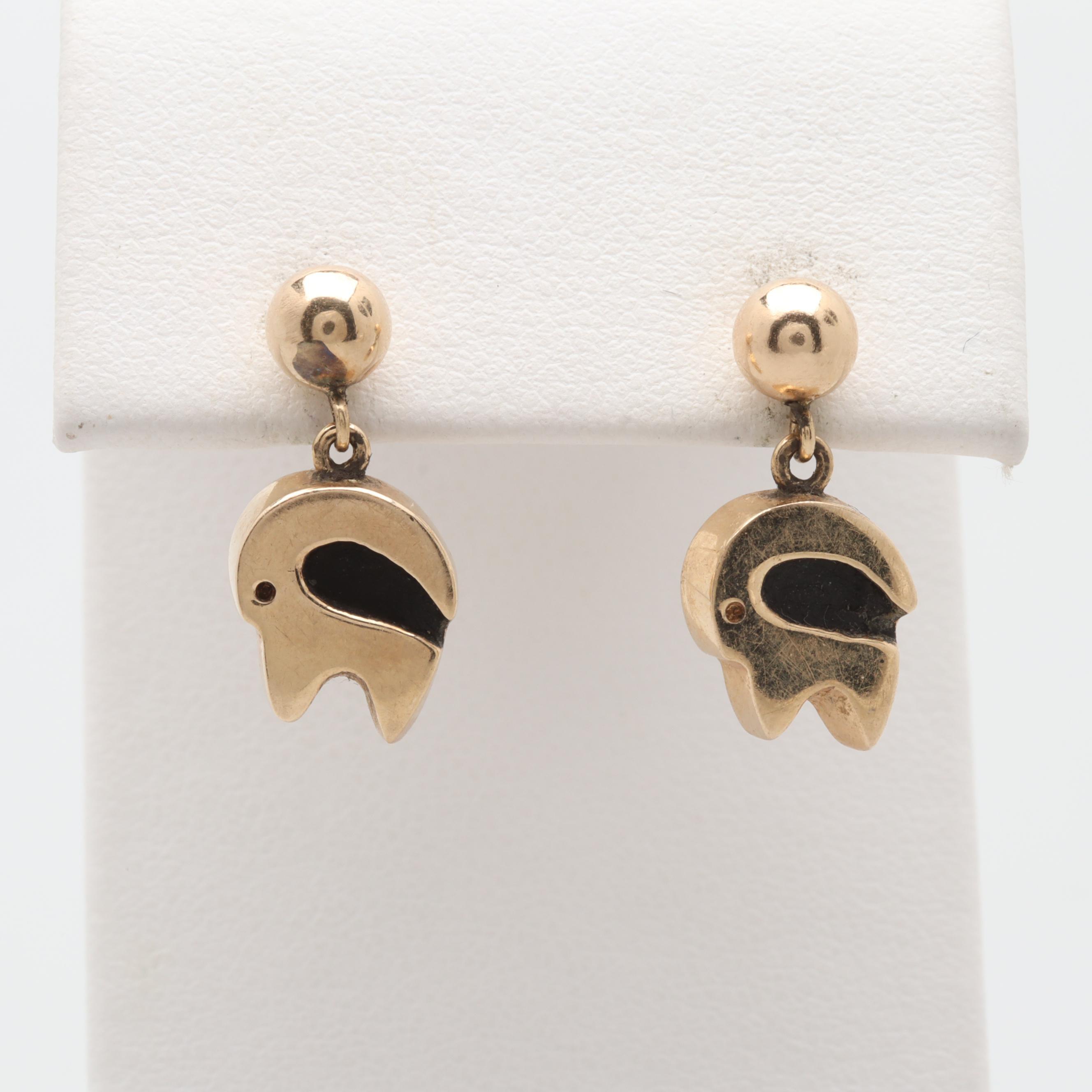 14K Yellow Gold Ram Motif Dangle Earrings