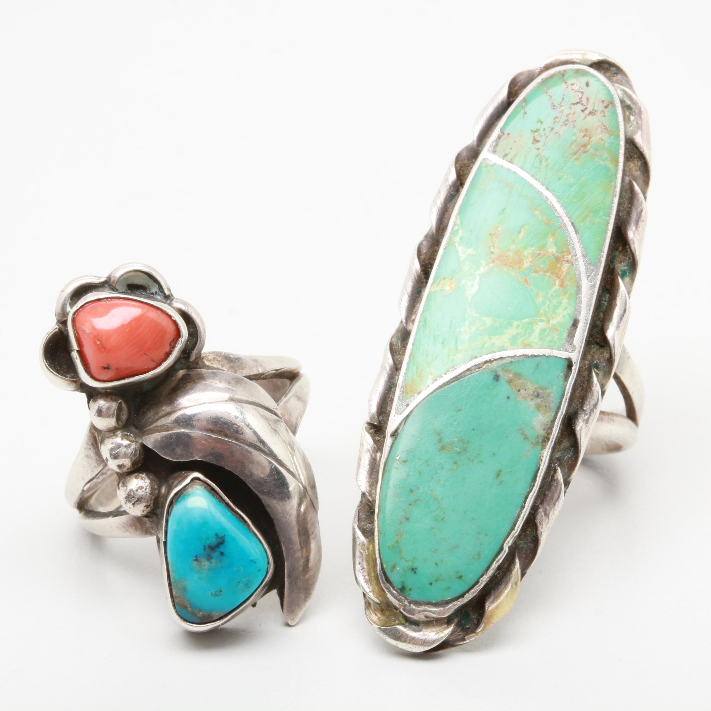 Norman Lee Navajo Diné Sterling Silver Turquoise and Coral Rings