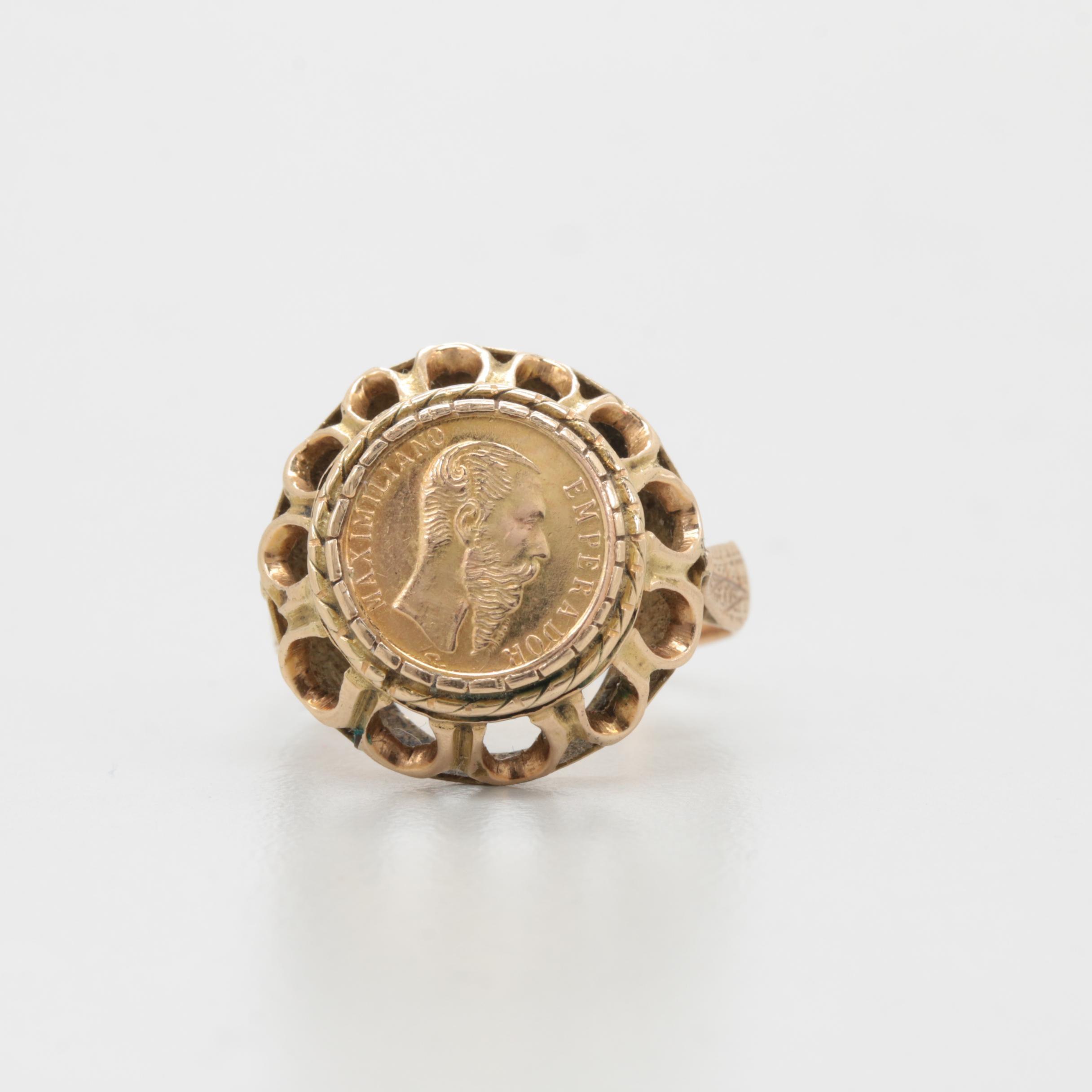 "14K Yellow Gold Ring with Mexico ""Maximilian"" 12K Yellow Gold Token"
