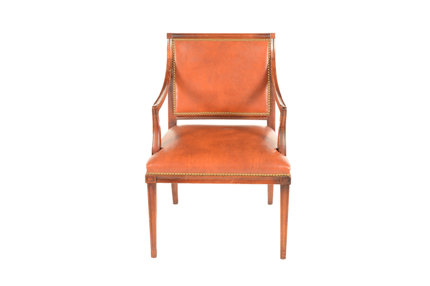 Federal Style Leather Upholstered Armchair by Hickory Chair, Mid 20th Century
