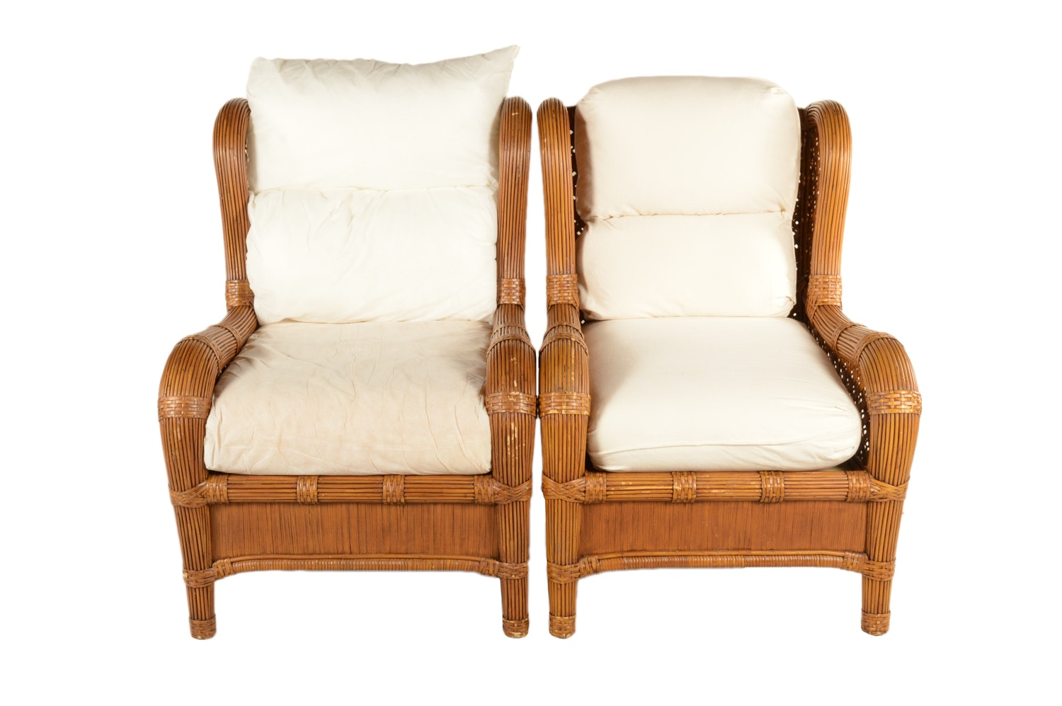 """""""Trade Winds"""" Rattan Armchairs with Cushions by Laneventure"""