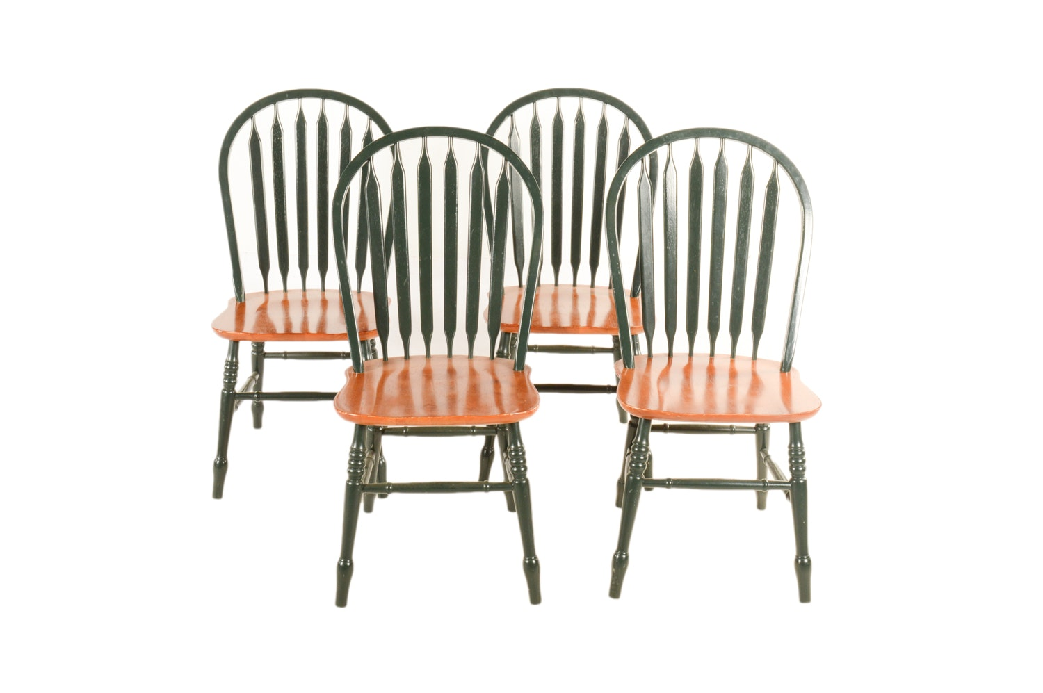 Windsor Style Green Painted Side Chairs by A-America