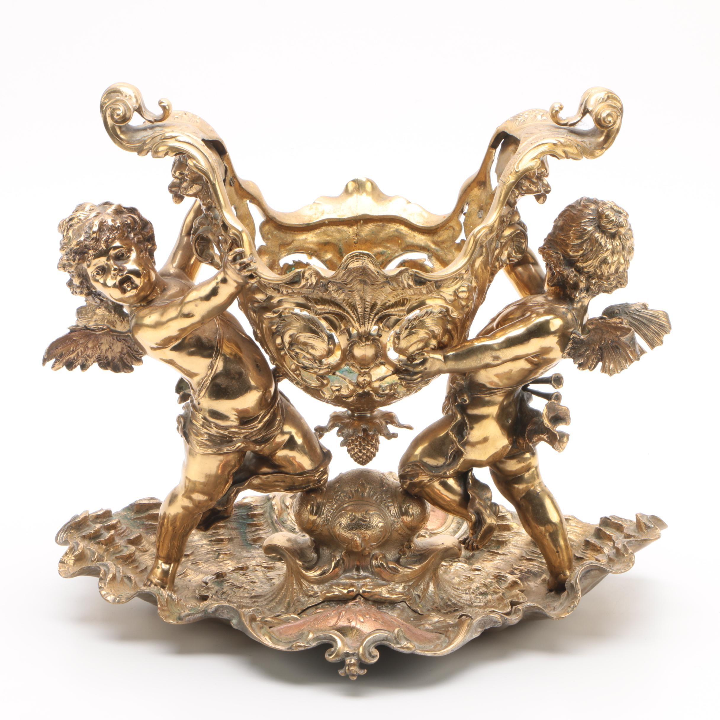 Rococo Style Brass Cherub and Shell Centerpiece
